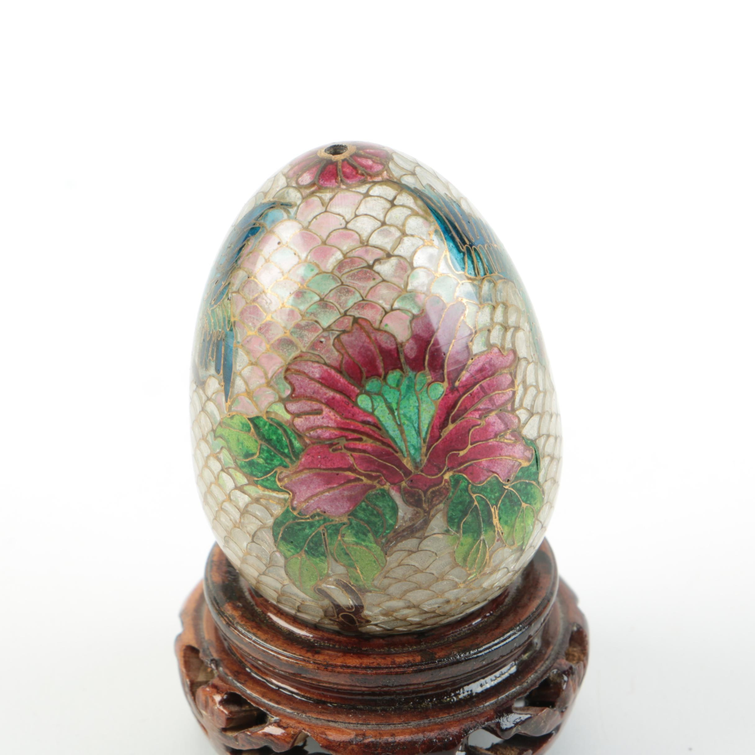 Chinese Plique 224 Jour Egg With Stand Ebth