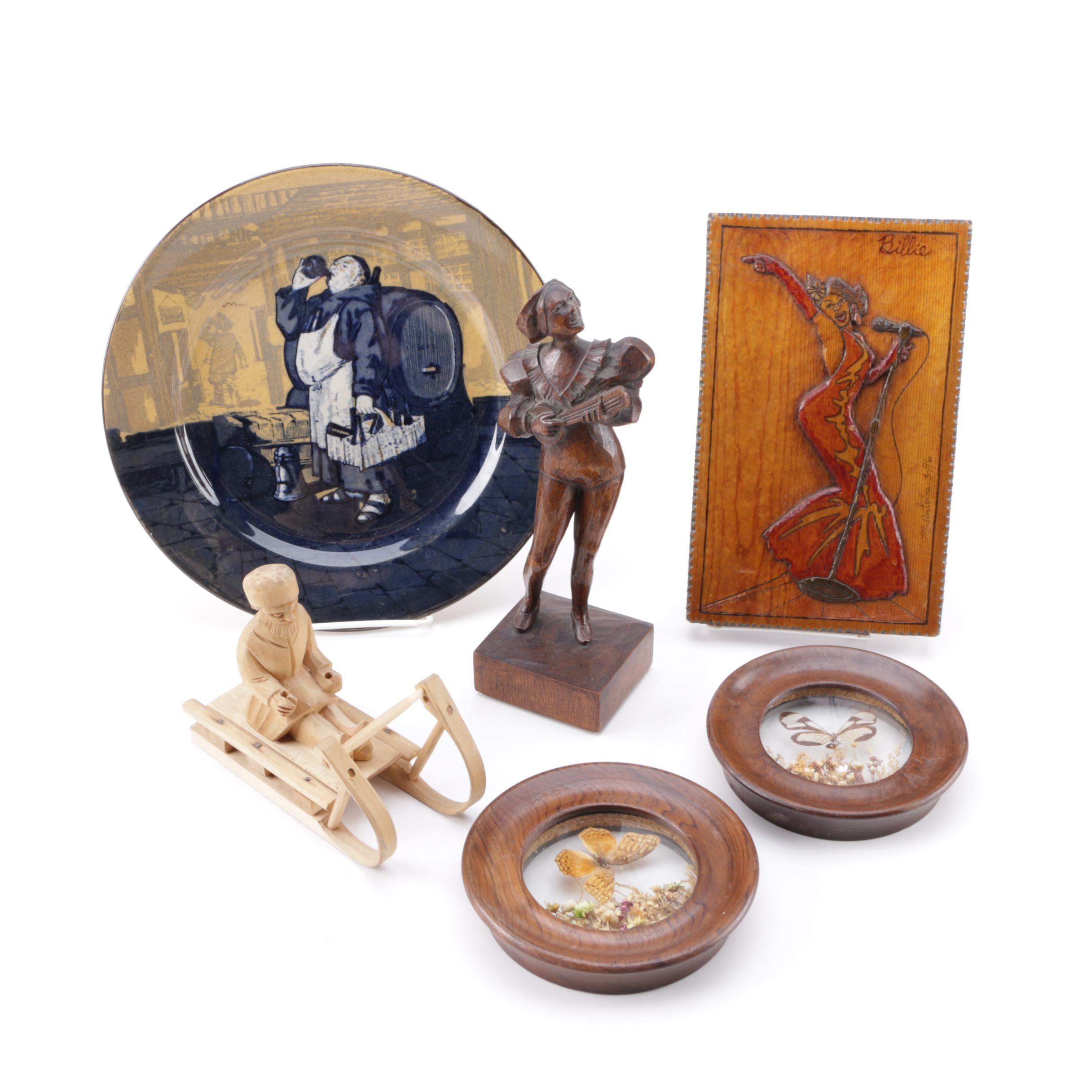 """Royal Doulton """"Monks in the Cellar"""" Plate with Assorted Wooden Decor"""