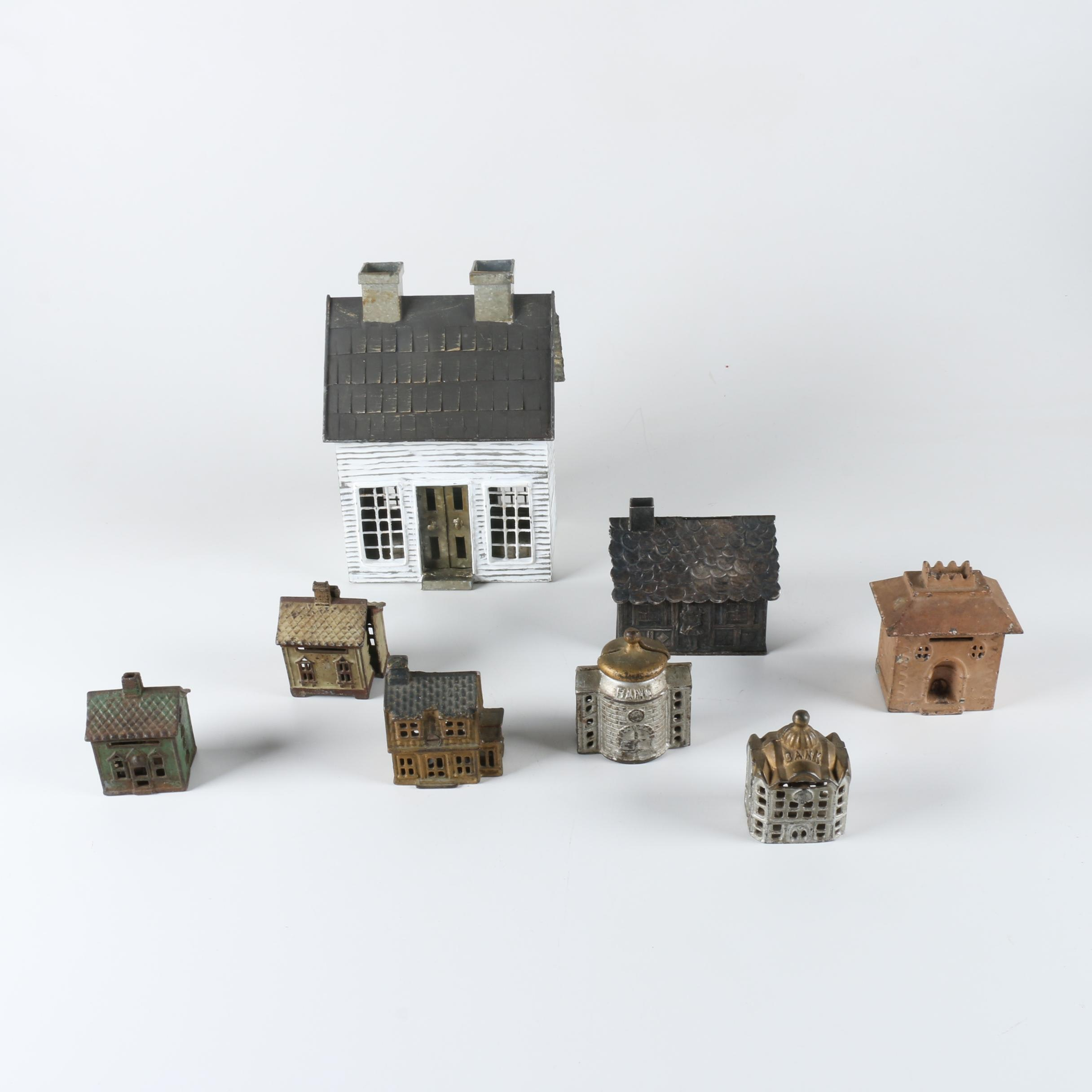 Metal House Shaped Toy Coin Banks