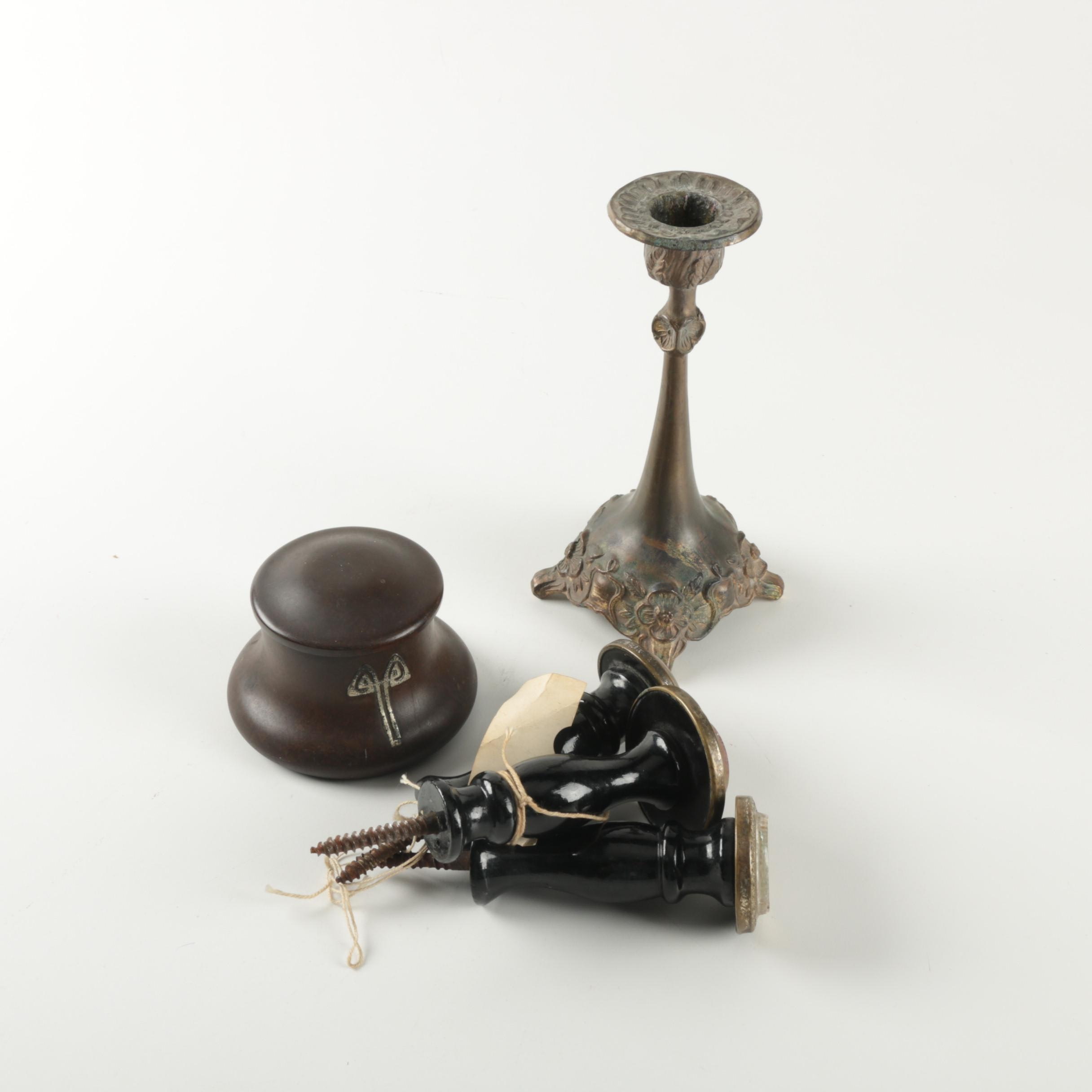 Vintage Doorknobs, Inkwell and Candlestick