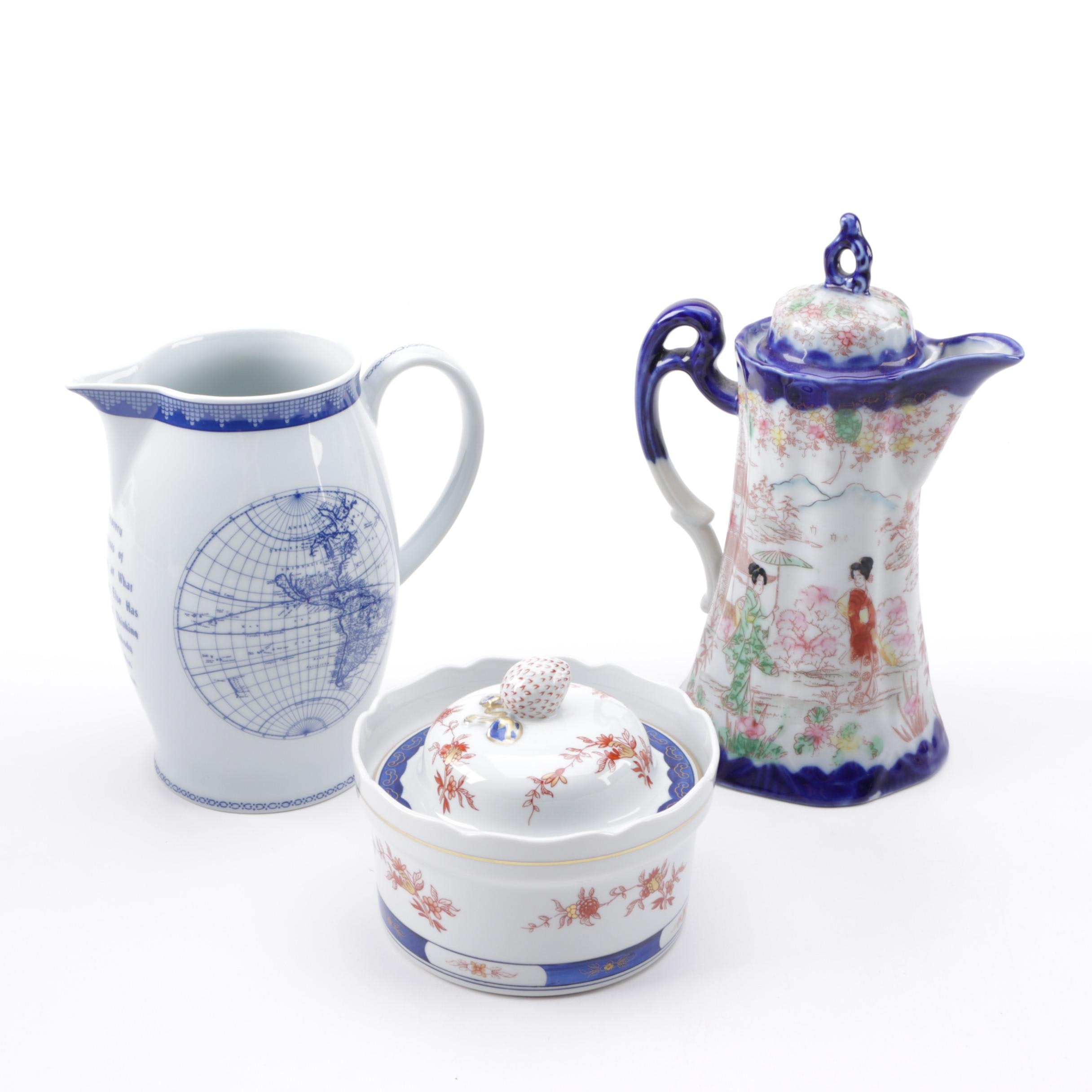 """Mottahedeh Vista Alegre """"Discovery"""" Pitcher and other Serveware"""