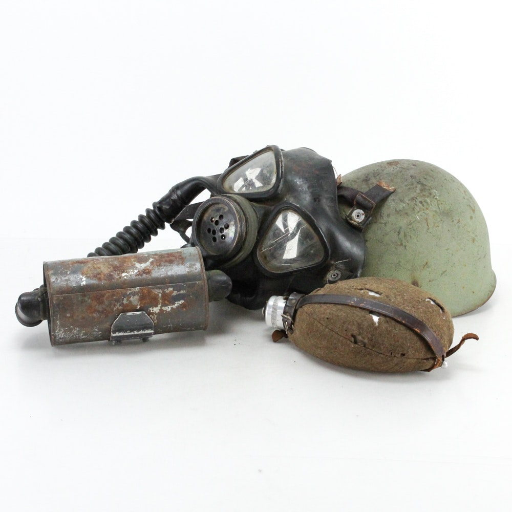 WWII Era U.S Mark IV Gas Mask, M1 Helmet and Metal Canteen
