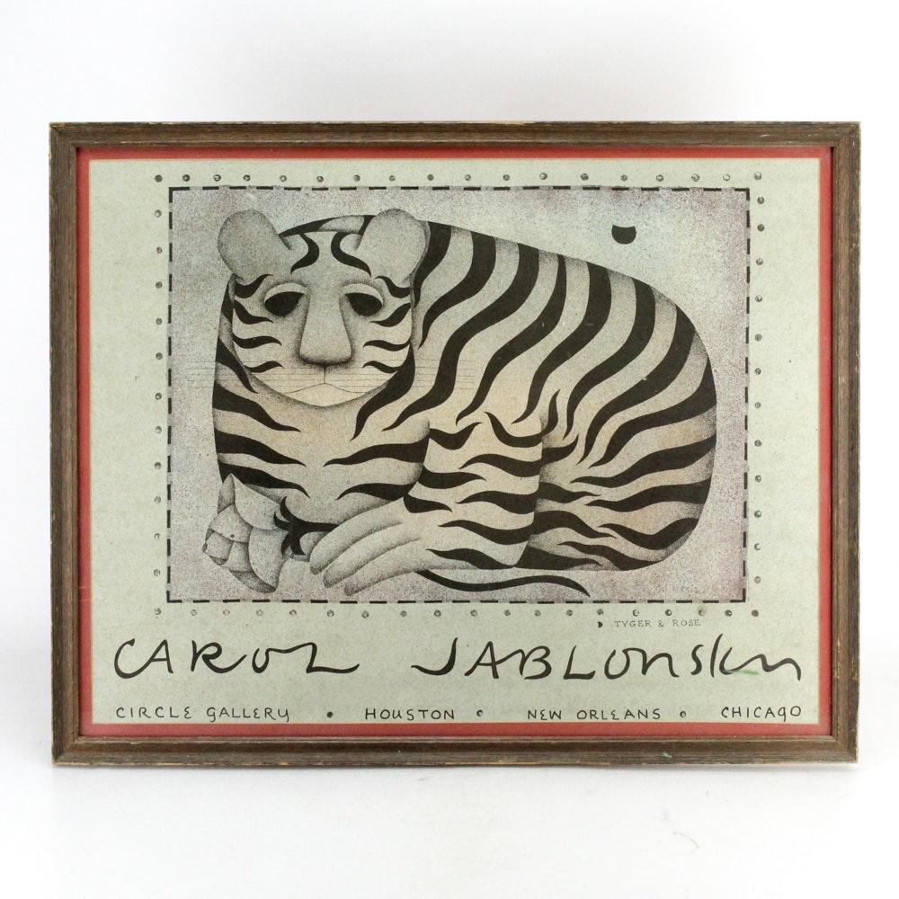 """Reproduction Print After Carol Jablonsky """"Tiger & Rose"""""""