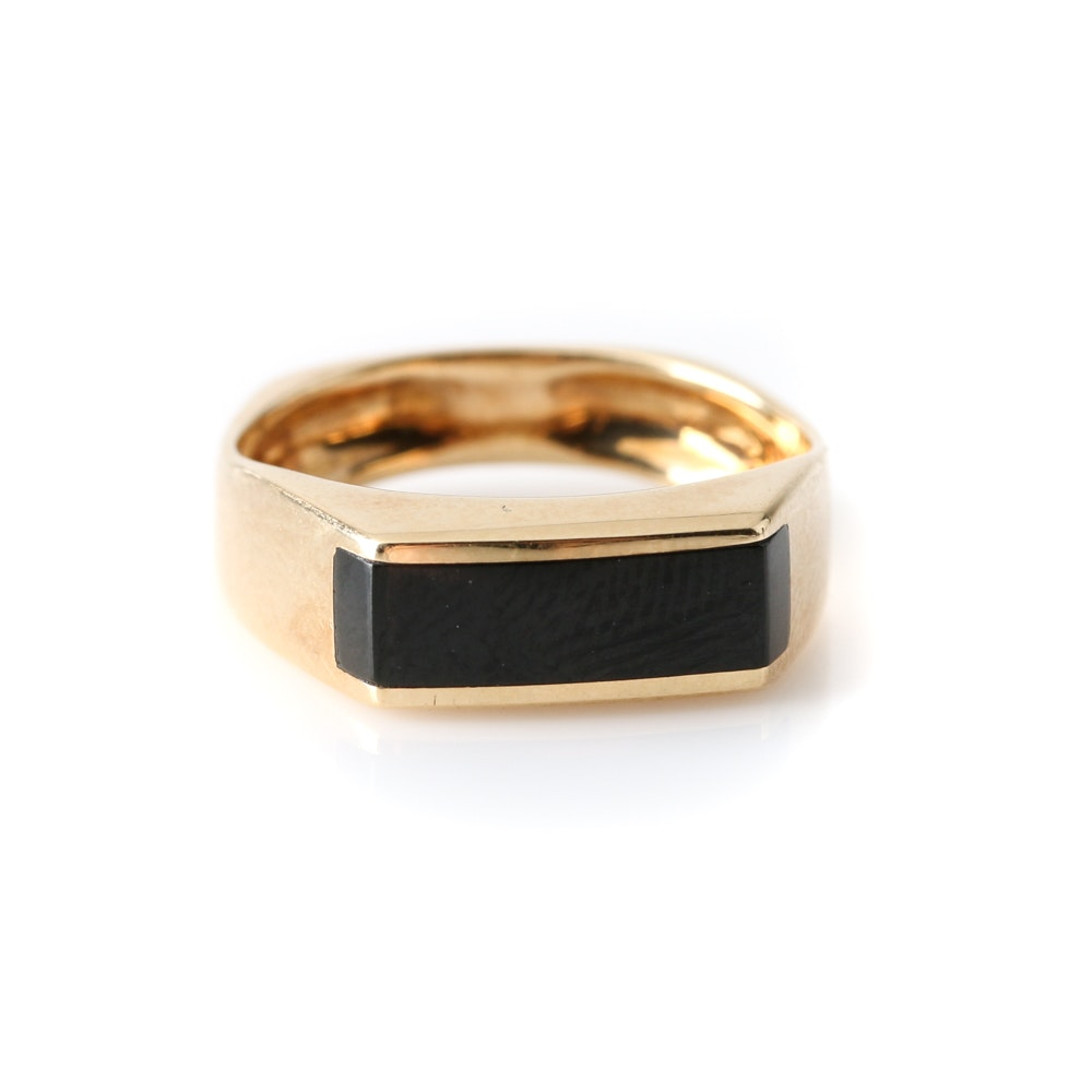 14K Yellow Gold Black Onyx Ring