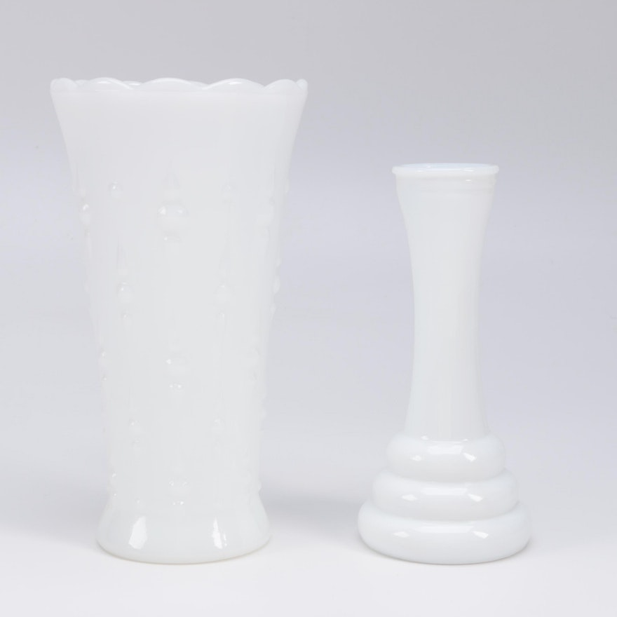 Pair Of Milk Glass Vases Including Randall Ebth