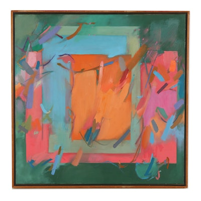 Attributed to Monica Bain Oil Painting on Canvas of Abstract Composition