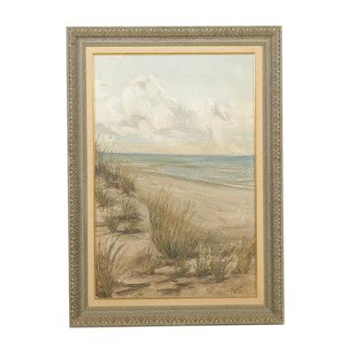 M. Jordan Oil Painting on Canvas of a Beach