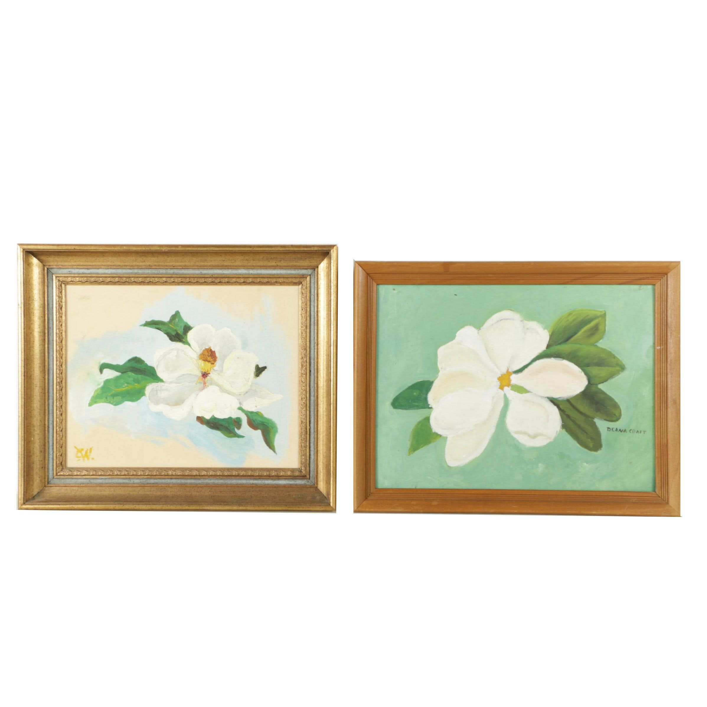 Oil Paintings on Canvas Board of Magnolias