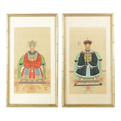 East Asian Ancestor Portrait Ink Paintings on Silk