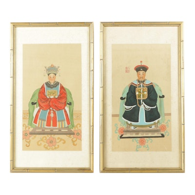 East Asian Ancestor Portrait Ink Paintings on Silk