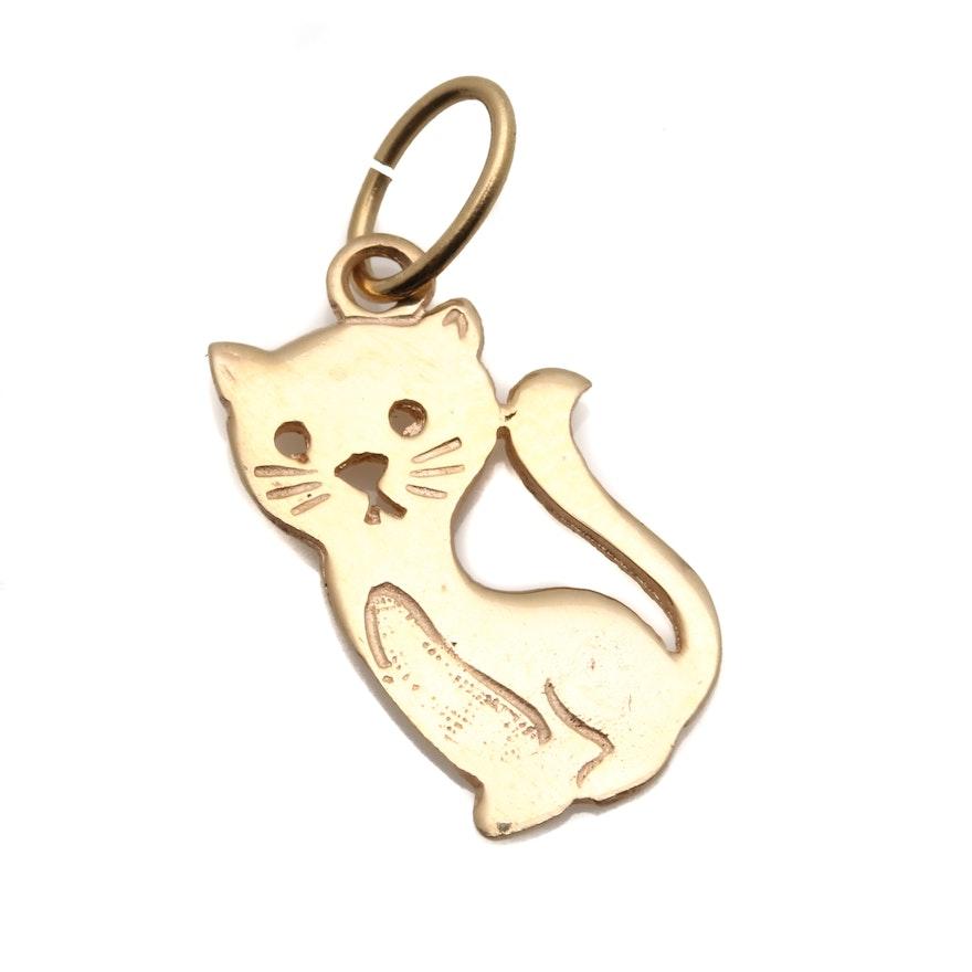 14k yellow gold cat pendant ebth 14k yellow gold cat pendant aloadofball Gallery
