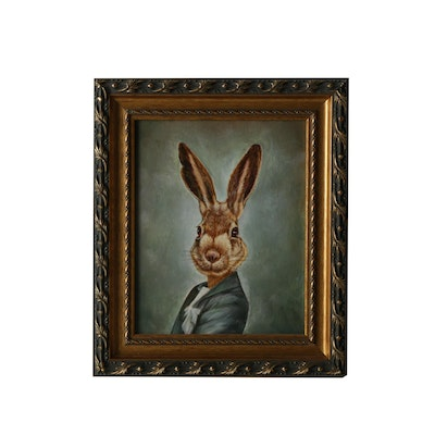 Acrylic Painting on Canvas of an Anthropomorphic Rabbit