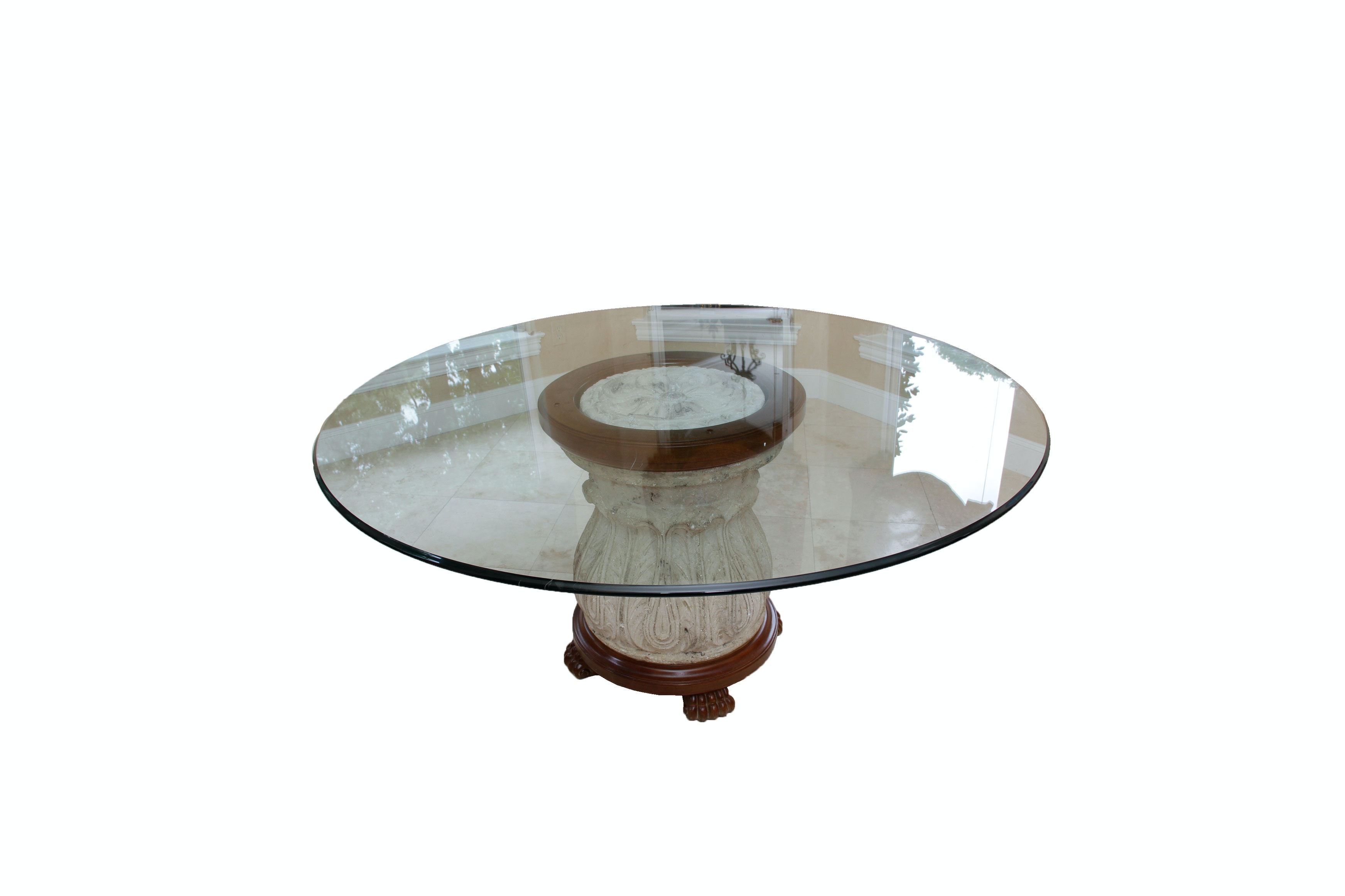 Round Glass Table with Stone Base by Thomasville