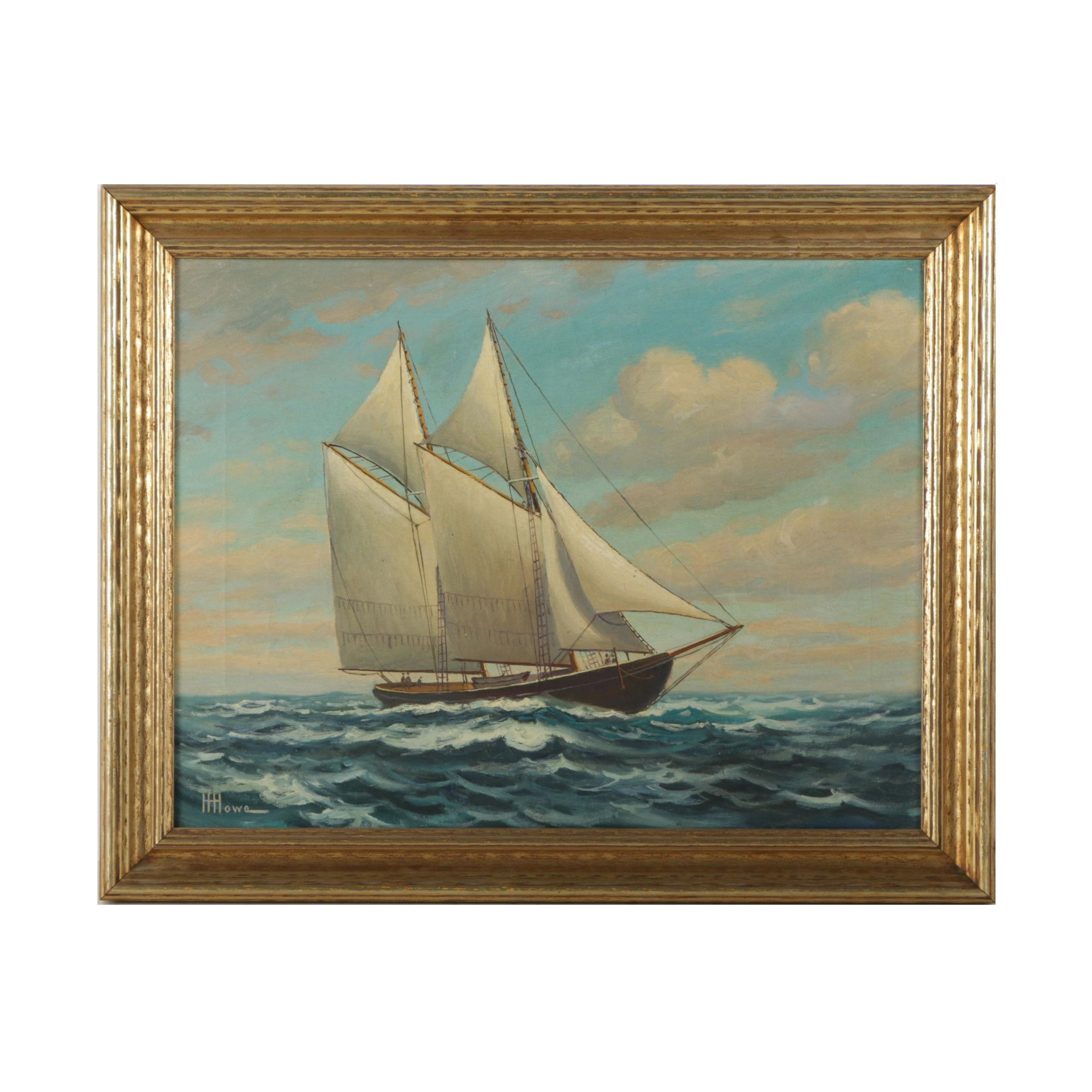 "Henry Harlow Howe Maritime Landscape Oil on Canvas ""Elsie of Gloucester"""