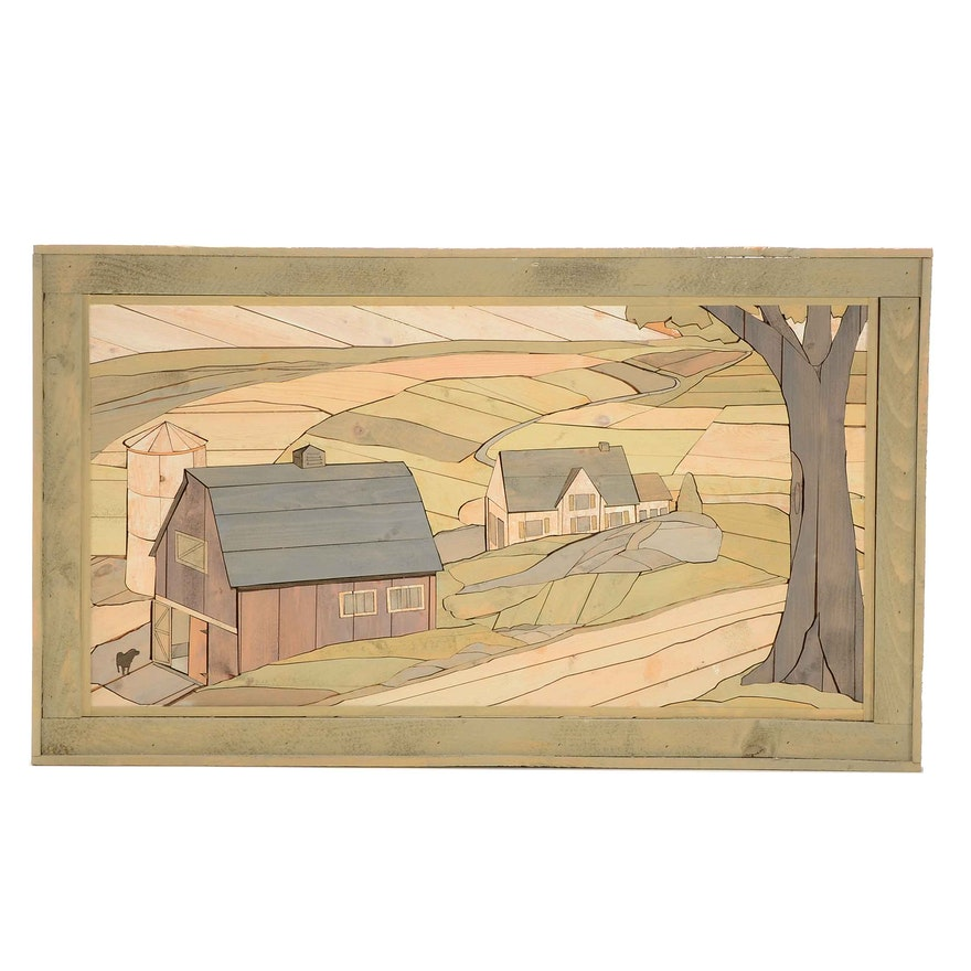 Folk Art Wood Inlay Wall Hanging of a Farm : EBTH