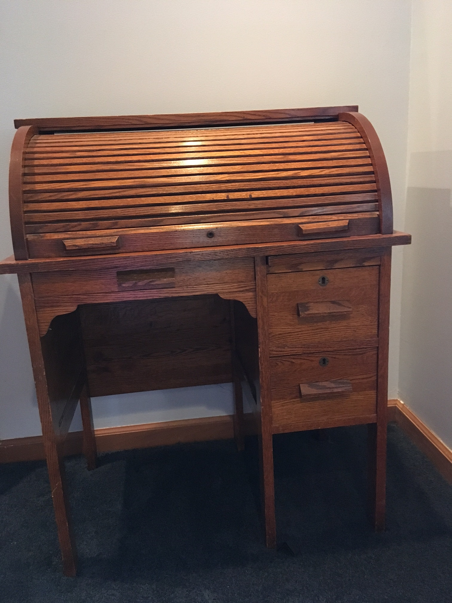 Vintage Child's Roll-Top Desk and Chair