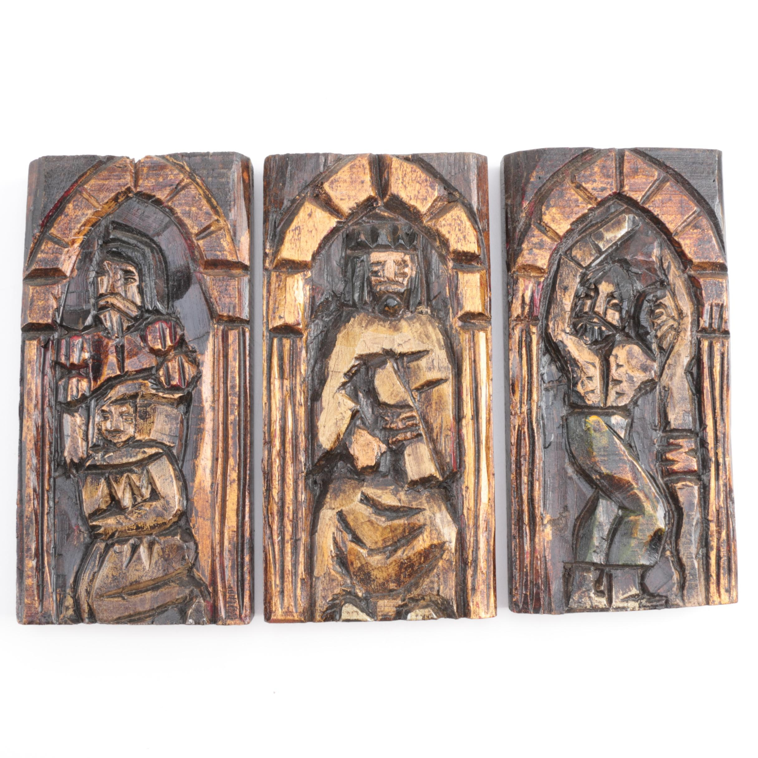 Hand Decorated Carved Wood Religious Icons
