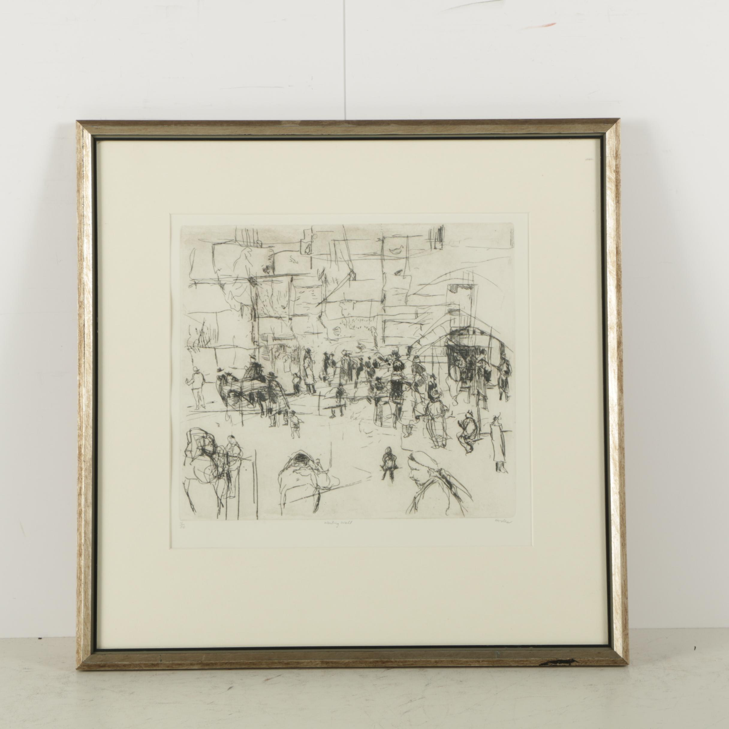 """Suzanne Hodes Limited Edition Etching """"Wailing Wall"""""""