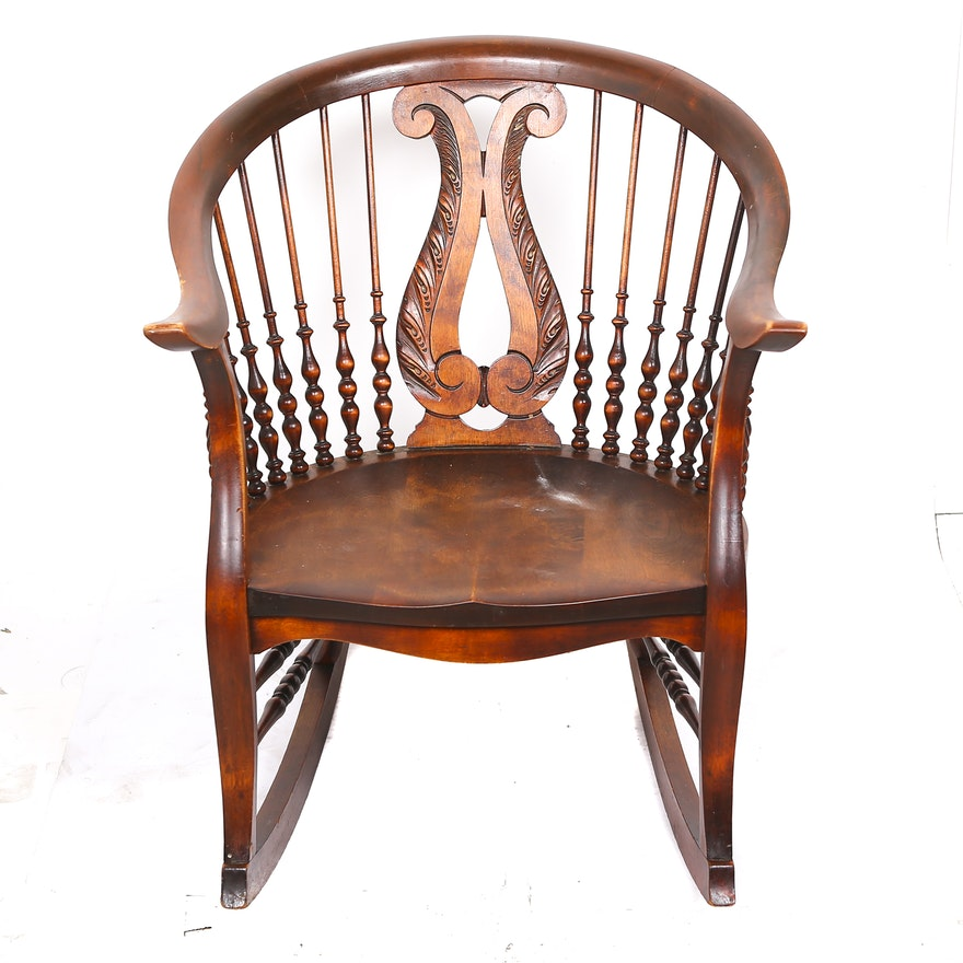 Colonial-Revival Lyre Carved Rocking Chair | EBTH