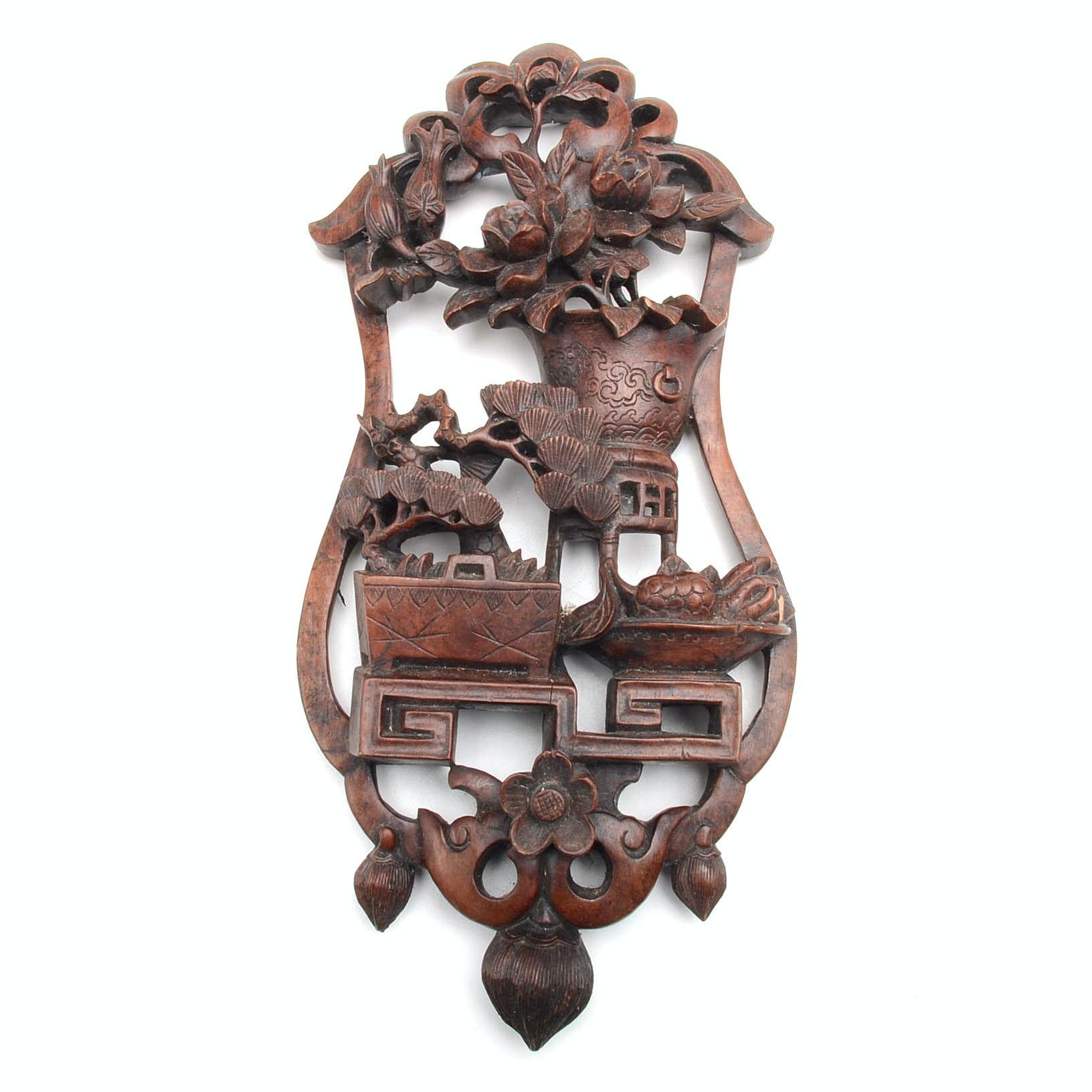 Asian Carved Mahogany Decor