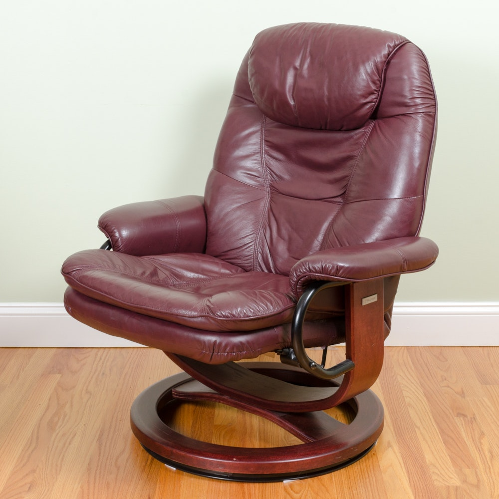 Burgundy Leather Reclining Chair By Palliser ...