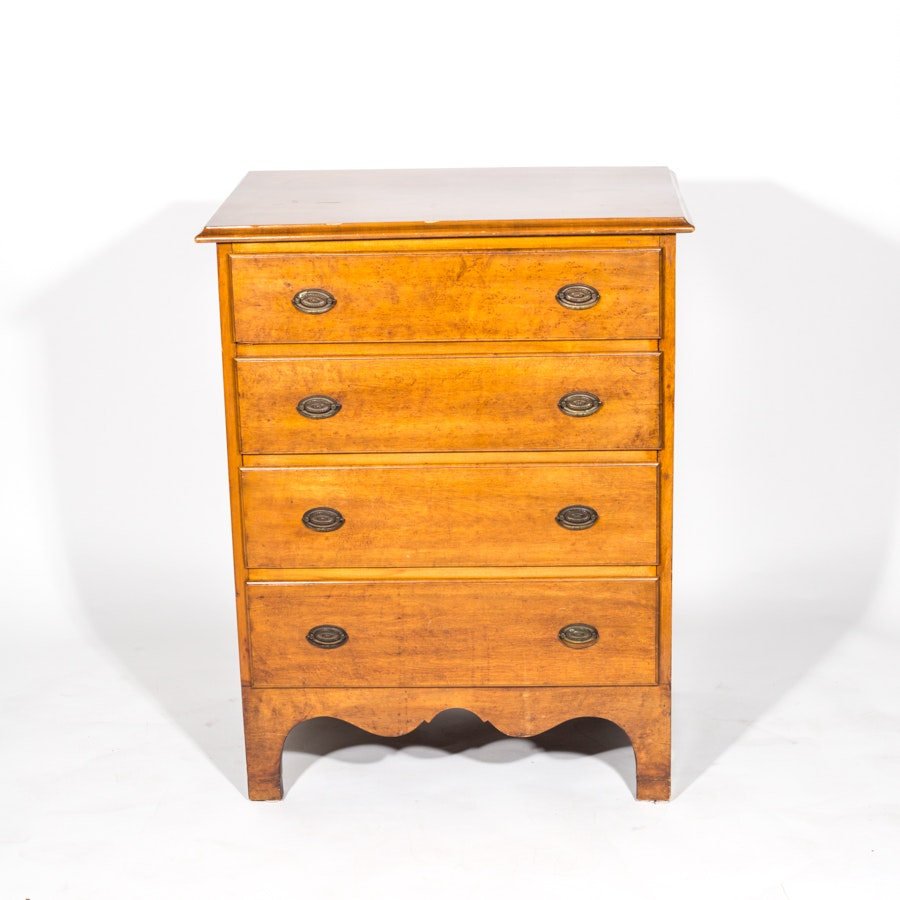 Vintage Hepplewhite Style Maple And Birch Chest Of Drawers