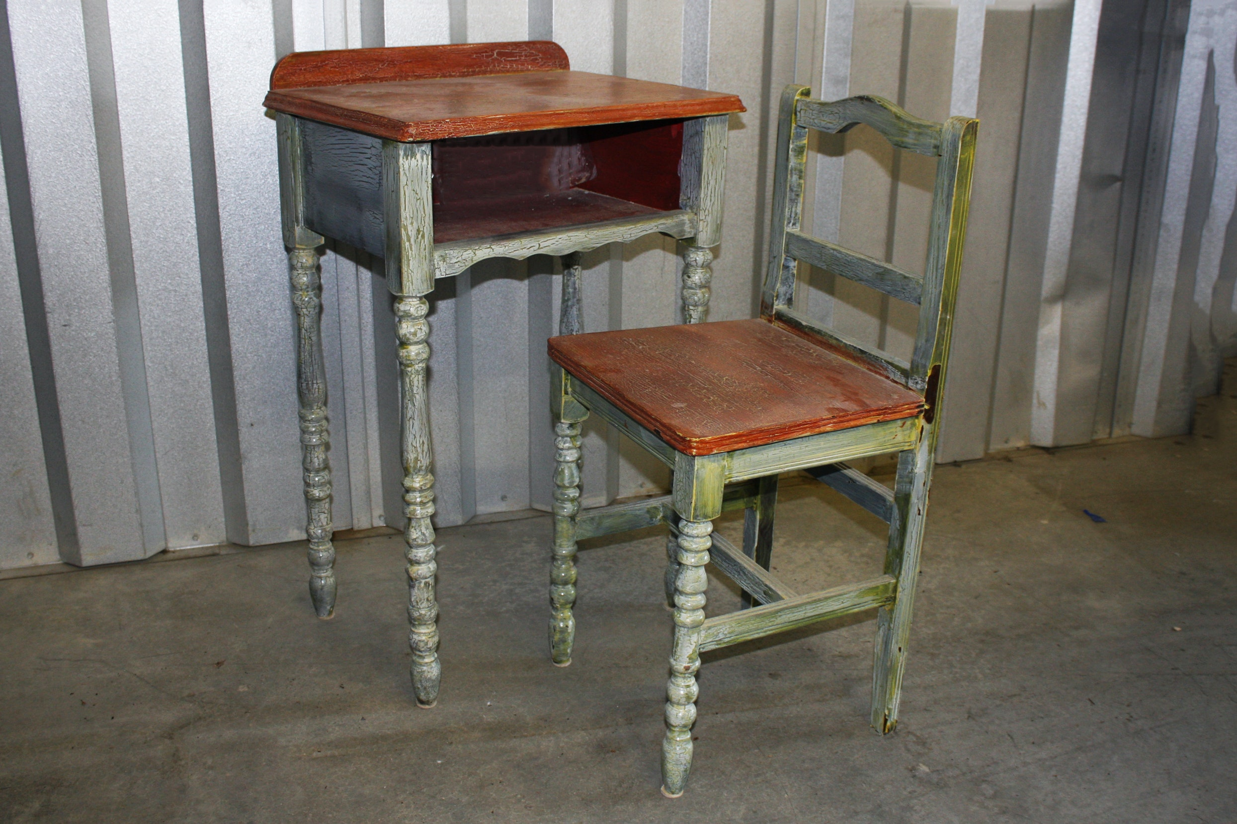 Vintage Painted Telephone Table and Chair