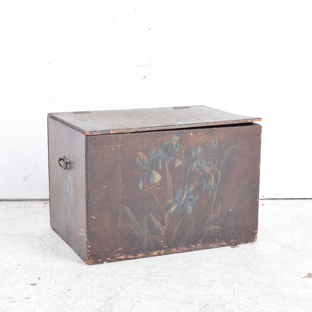 Vintage Painted Wooden Trunk