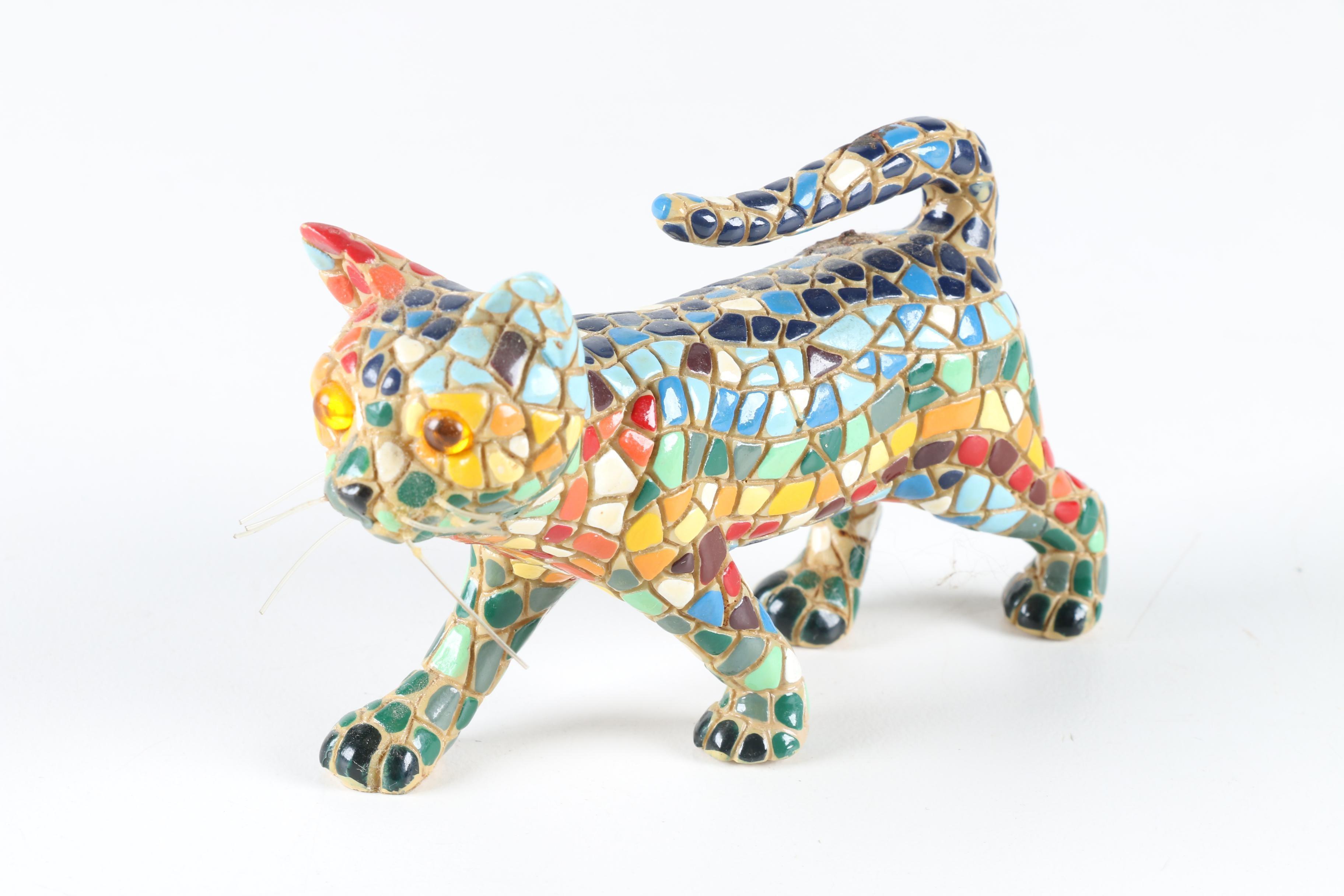 Mosaic Cat Figurine