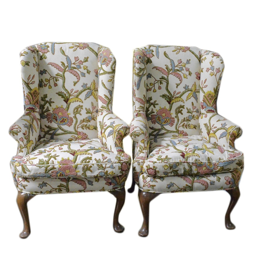 Pair of Wingback Chairs with Raised Embroidery : EBTH
