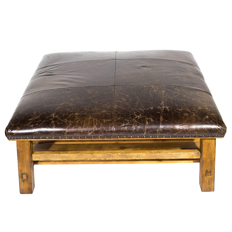 Leather and Wood Ottoman for Williams Sonoma Inc.