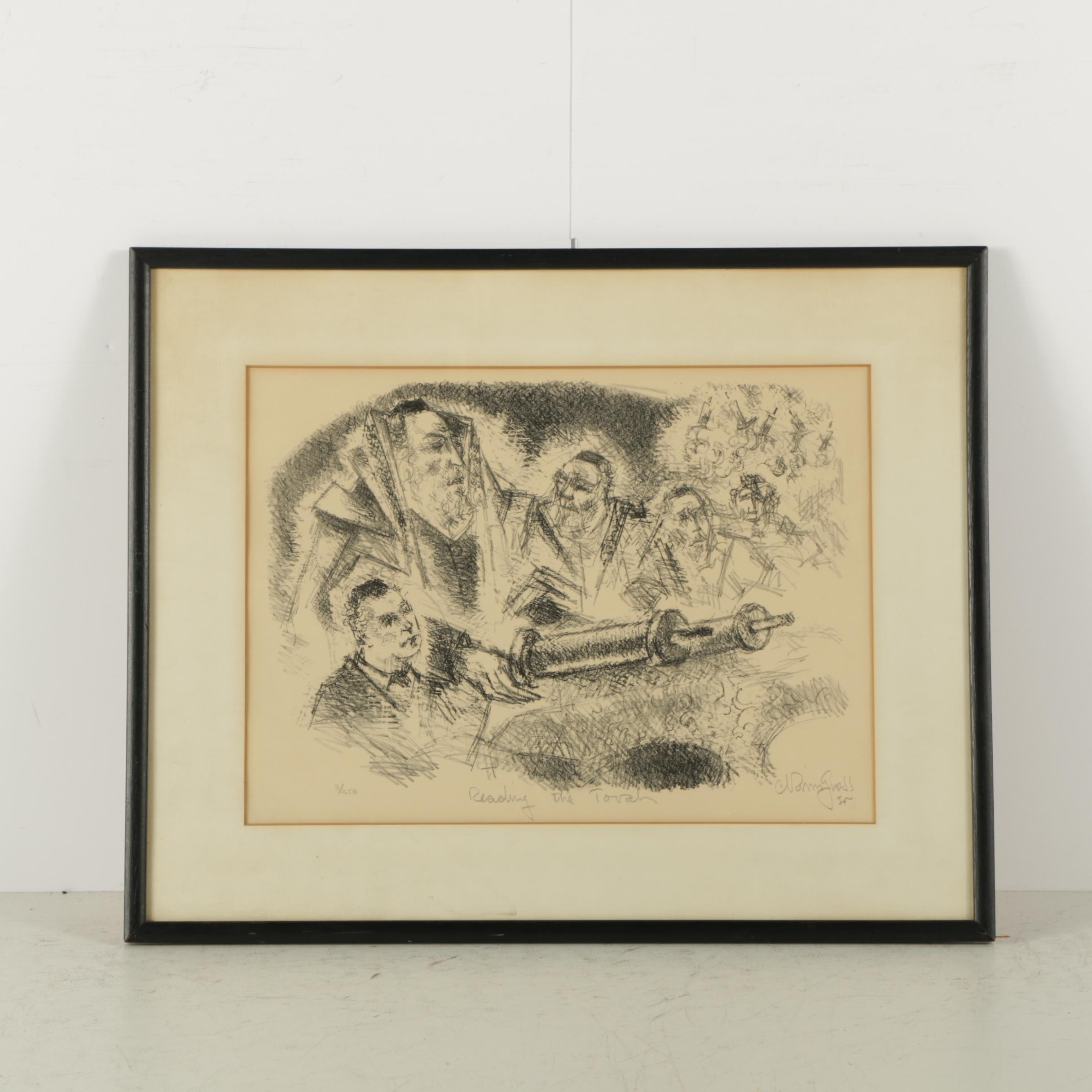 """Chaim Gross Limited Edition Lithograph on Paper """"Reading the Torah"""""""