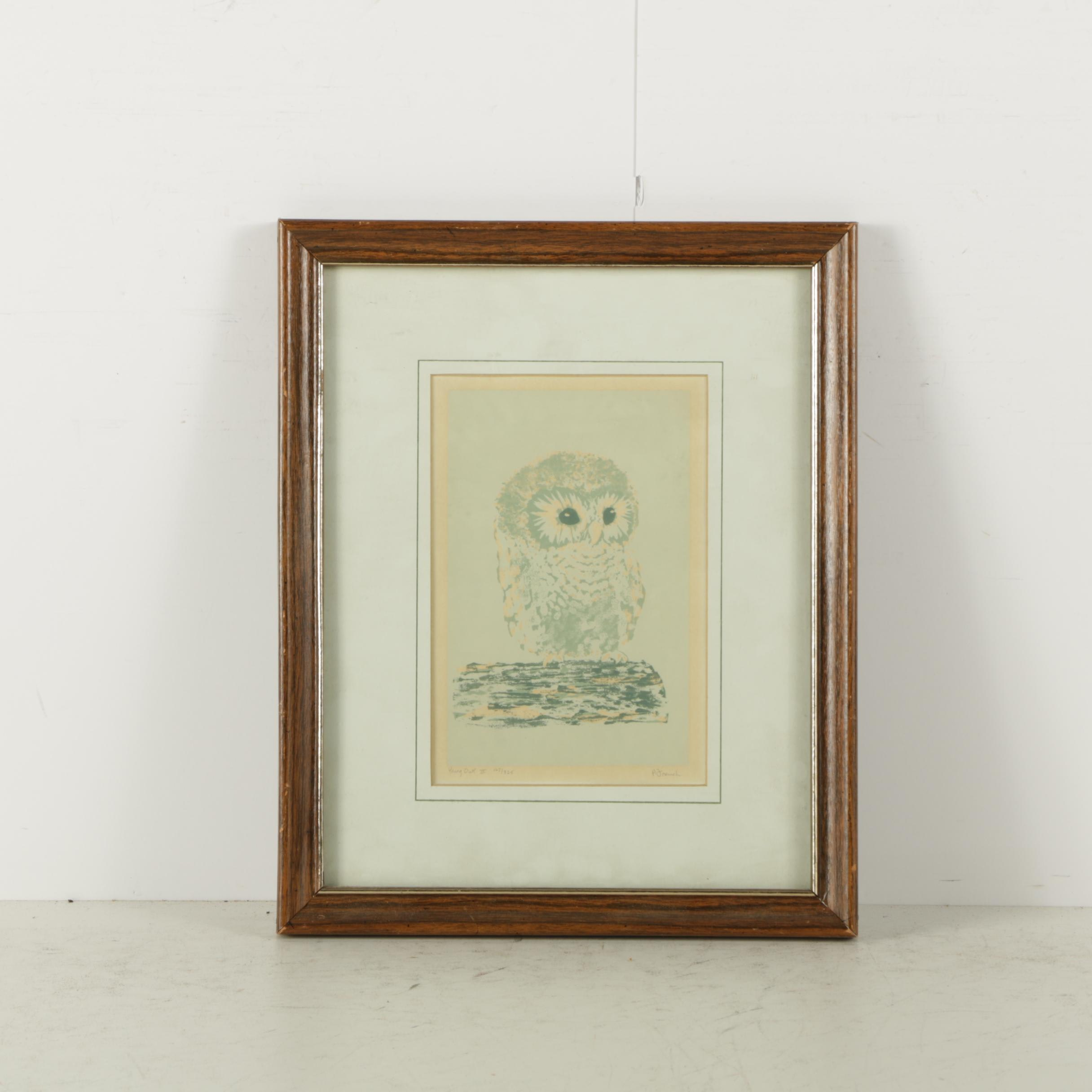 "Polly French Limited Edition Serigraph on Paper ""Young Owl II"""