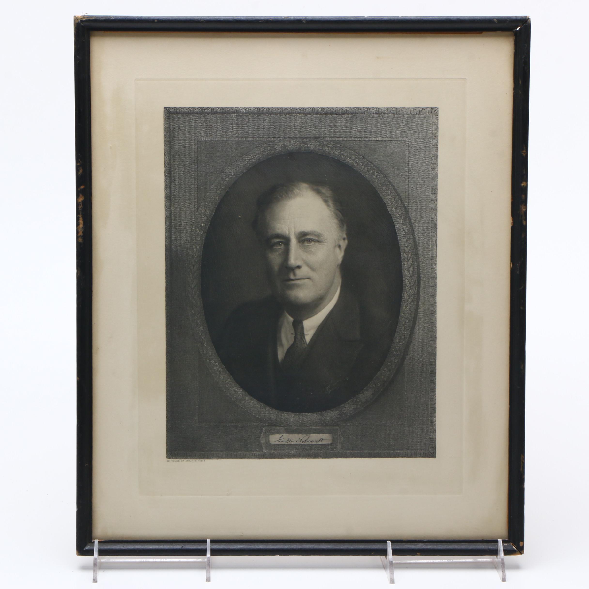 Engraving on Paper Portrait of President Franklin D. Roosevelt