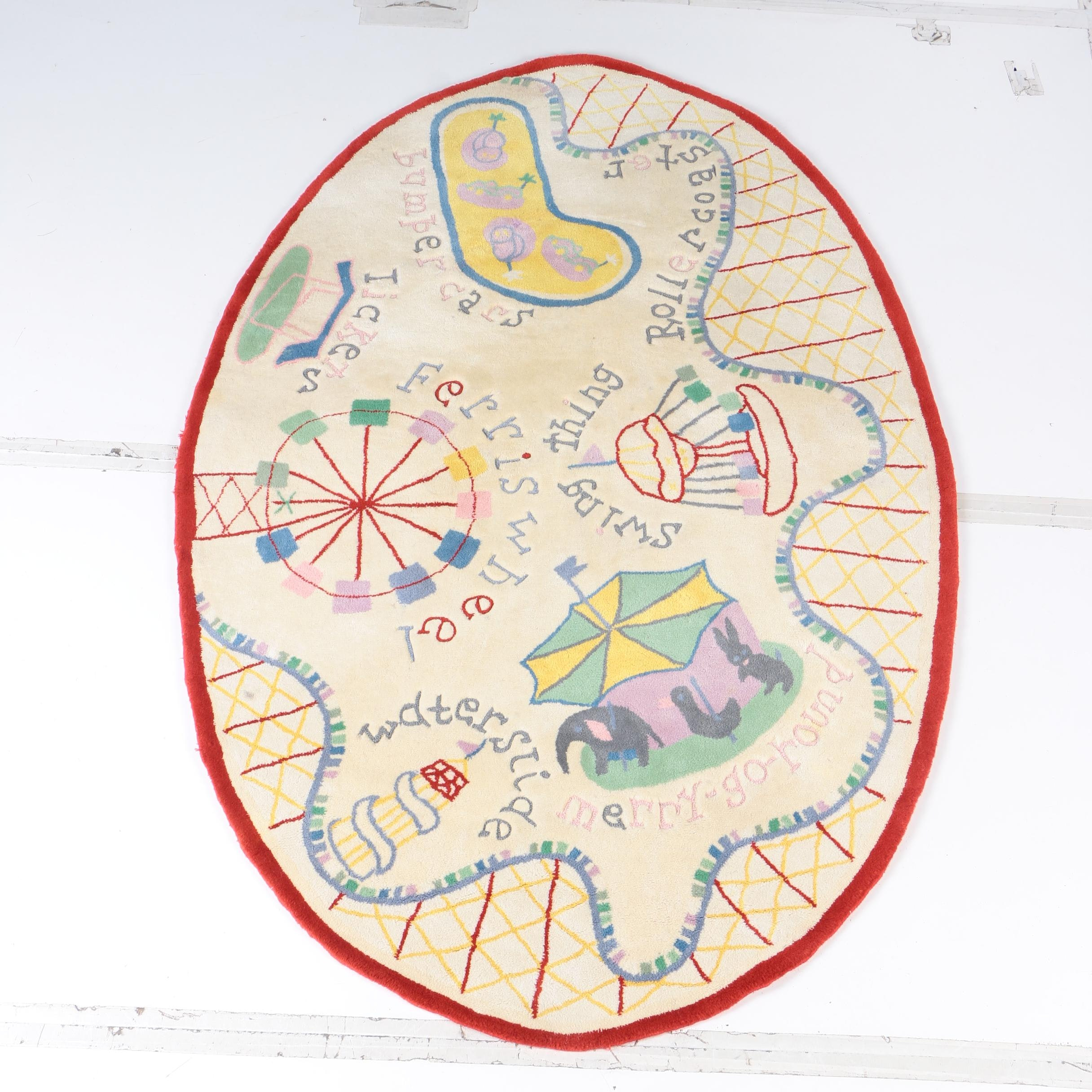 Hand Tufted Amusement Park Themed Oval Wool Area Rug