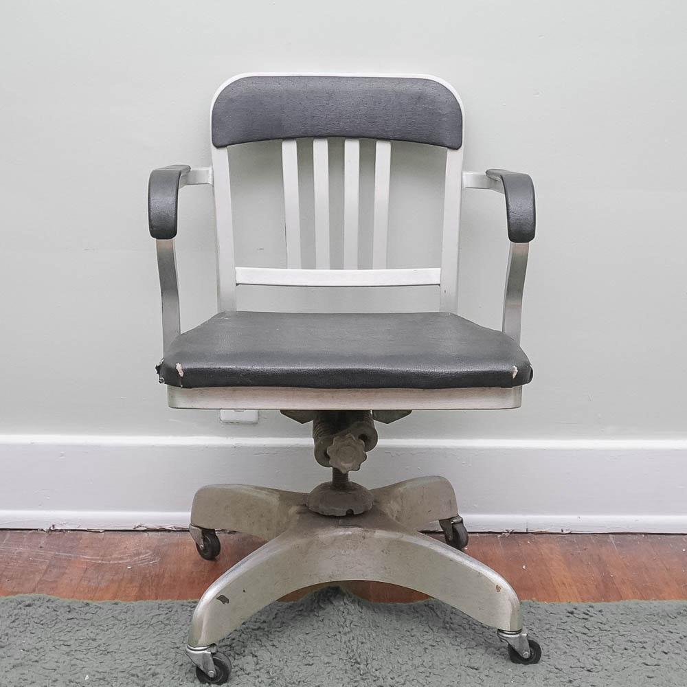 Vintage 1940s Aluminum Rolling Office Chair by Emeco