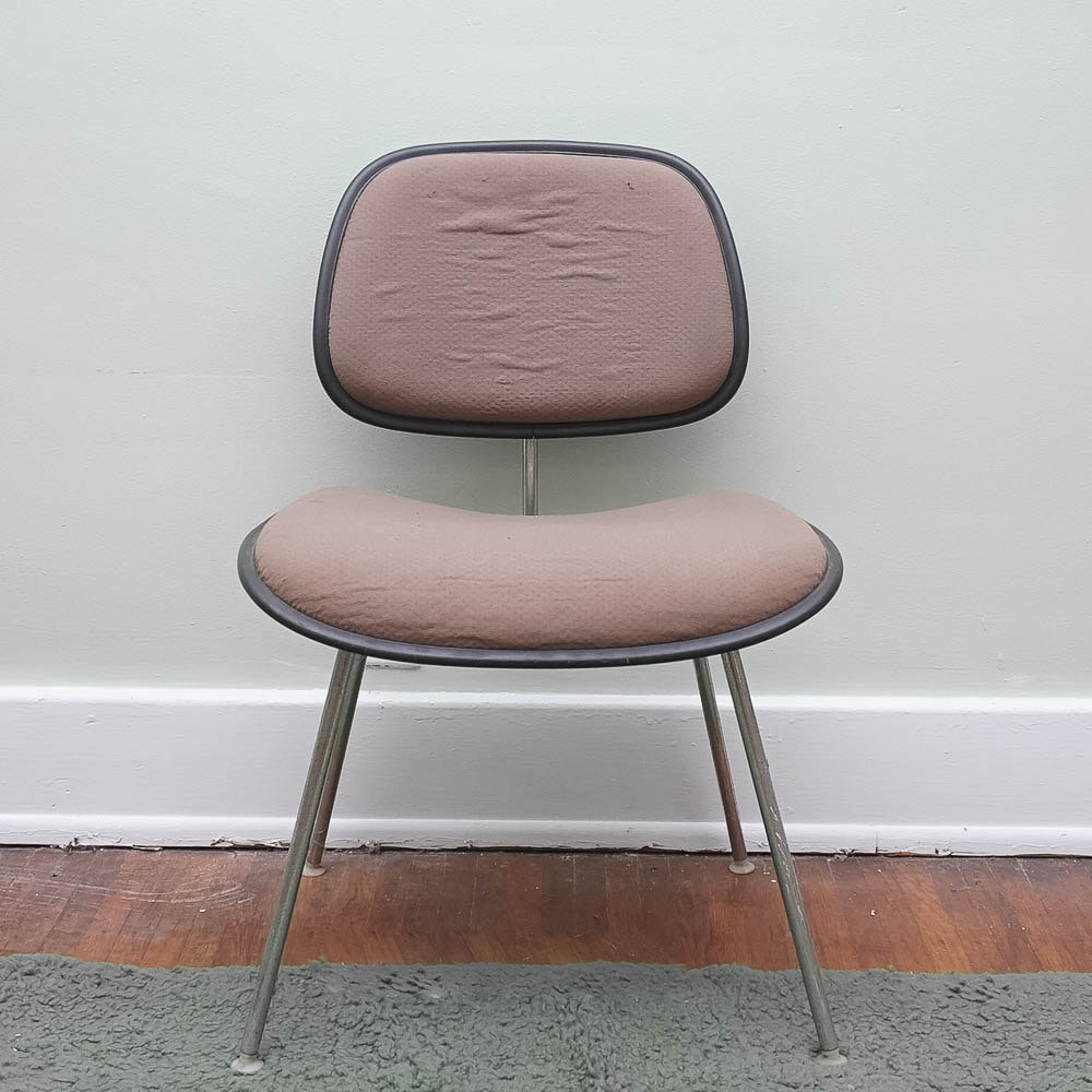 "Vintage 70s Rose and Black ""EC-127 DCM"" Chair by Eames for Herman Miller"