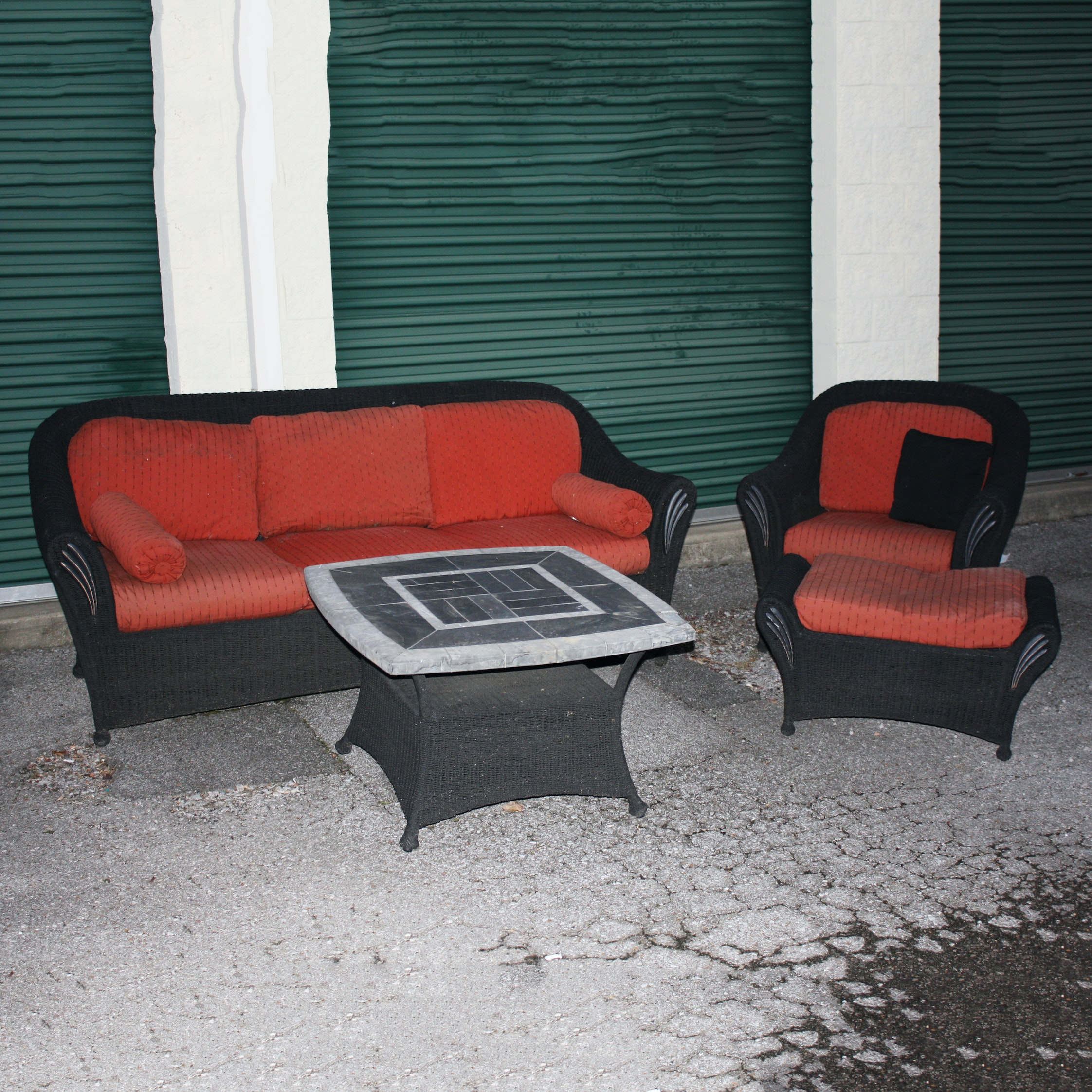 Outdoor Wicker Sofa, Table, and Chair with Ottoman