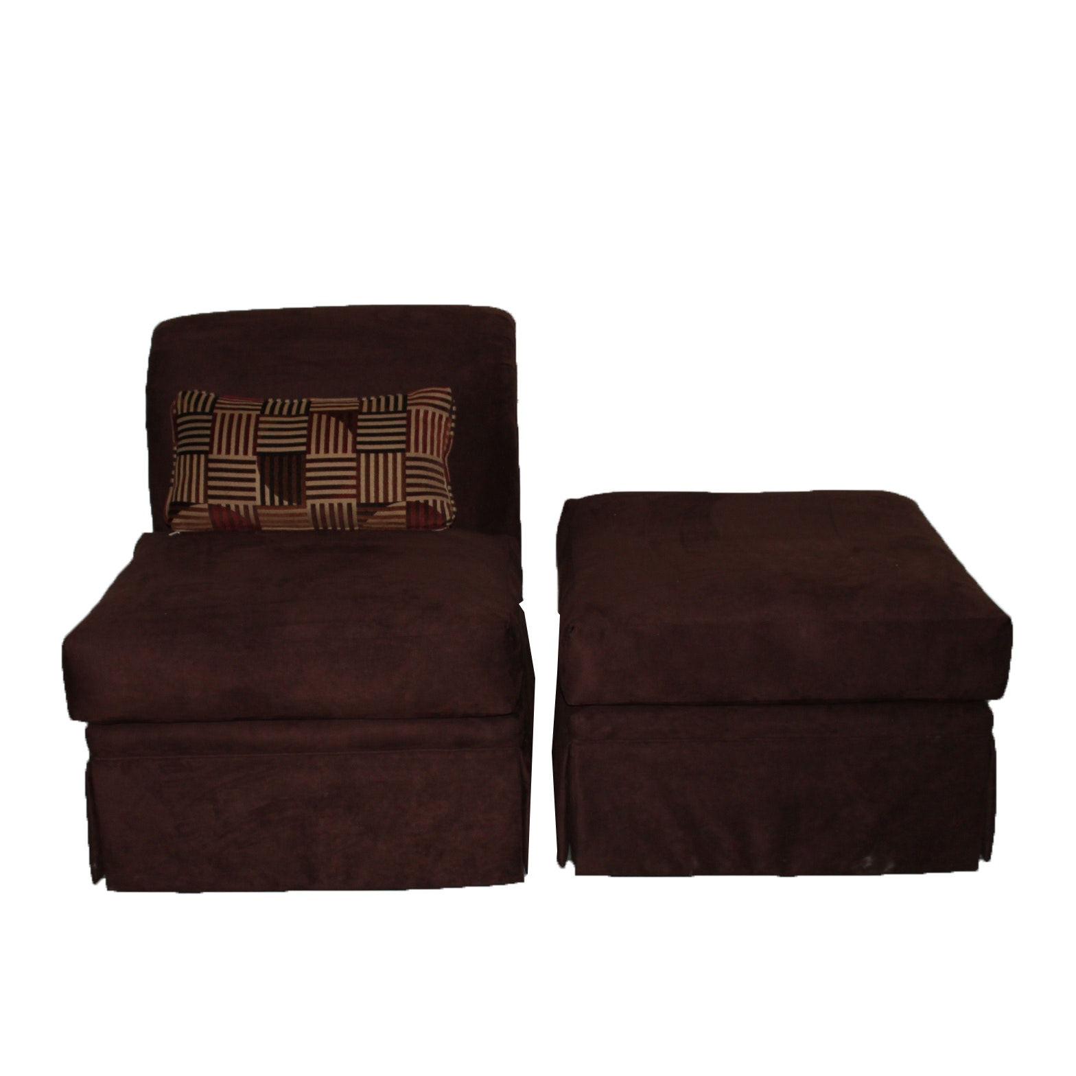 Contemporary Modern Microfiber Chair and Ottoman