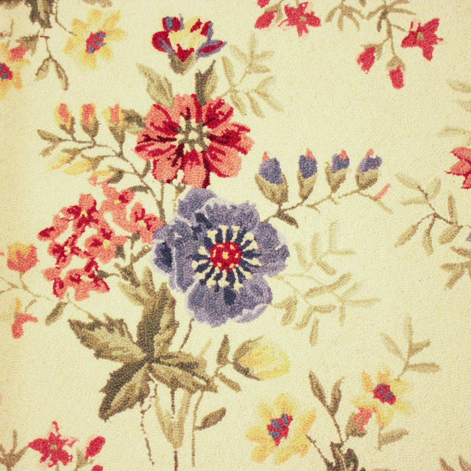 Hooked Floral Area Rug