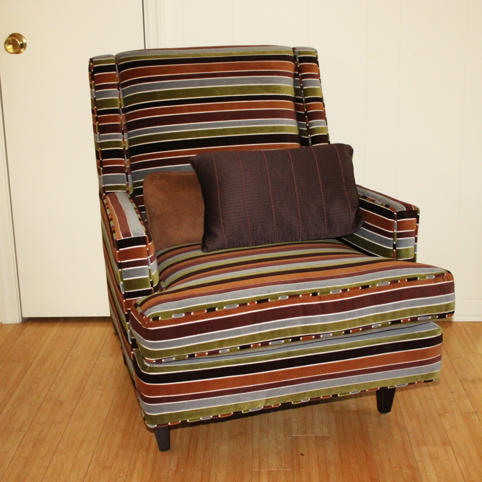 Vintage Mid-Century Upholstered Striped Armchair