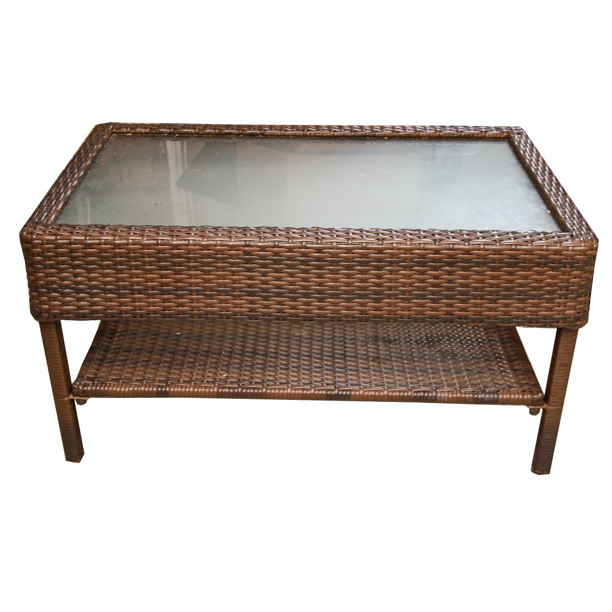 Wicker Wrapped Patio Coffee Table