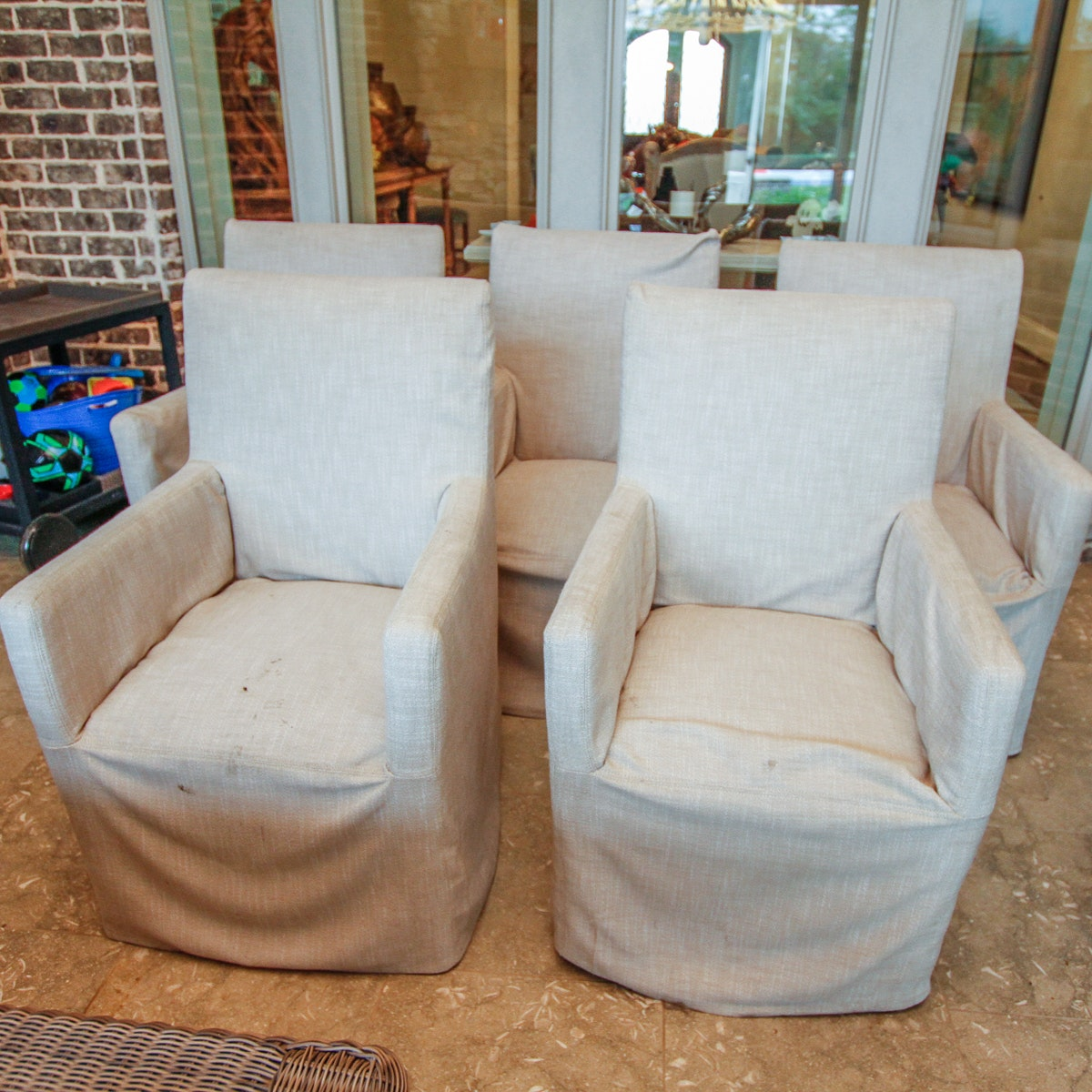 Set of Linen Slip Covered Armchairs