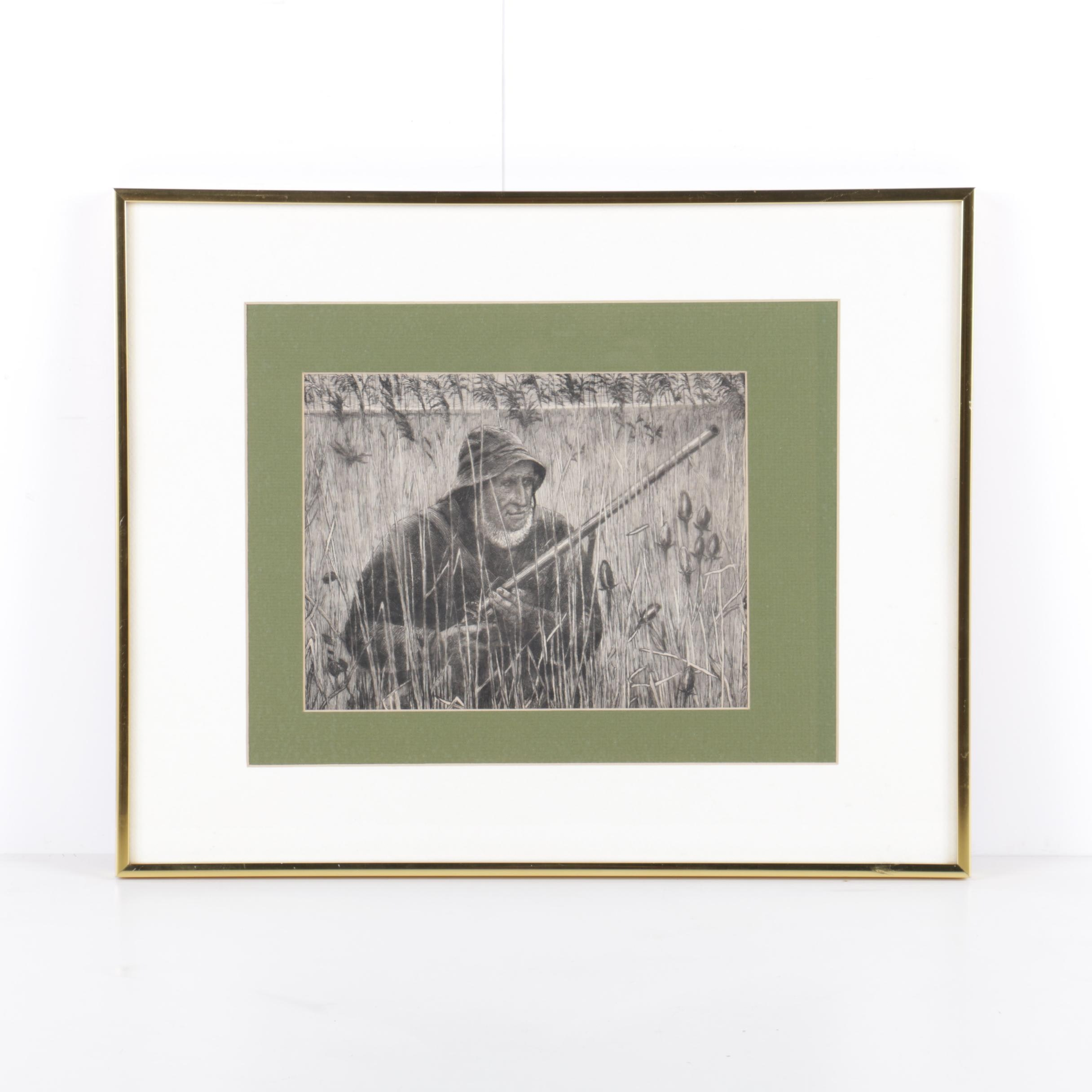 """After George Essig Etching on Paper """"on The Watch"""""""