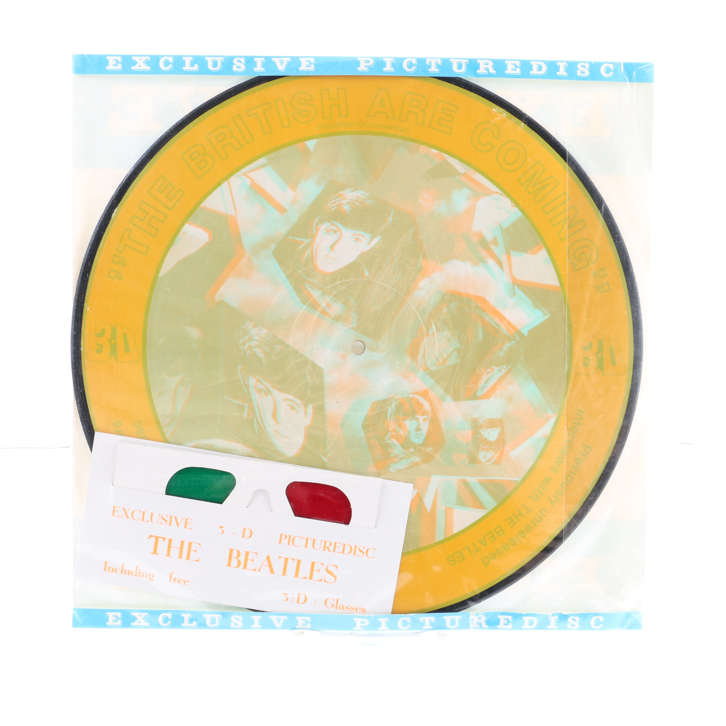 """The Beatles """"The British Are Coming"""" 3D Picture Disc with Original 3-D Glasses"""