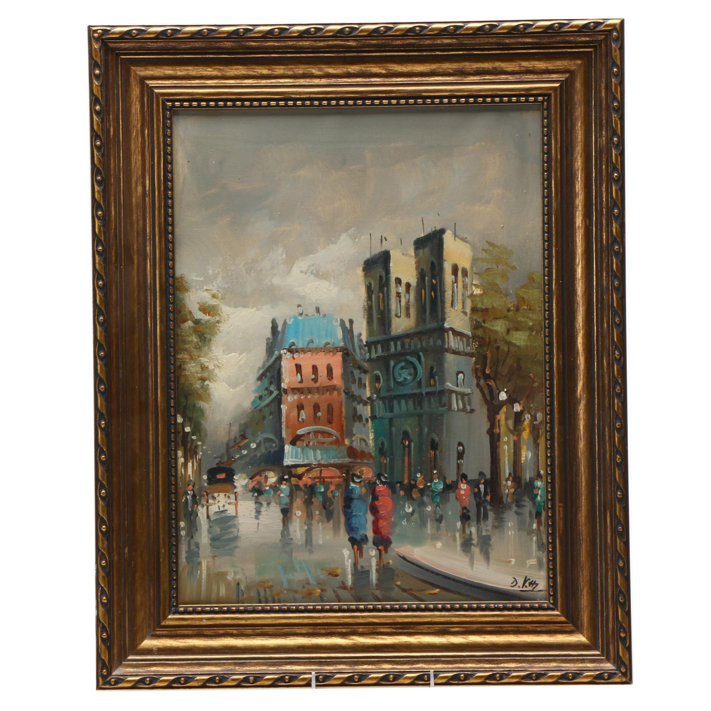 D. Kass Oil Painting of Paris in the Rain