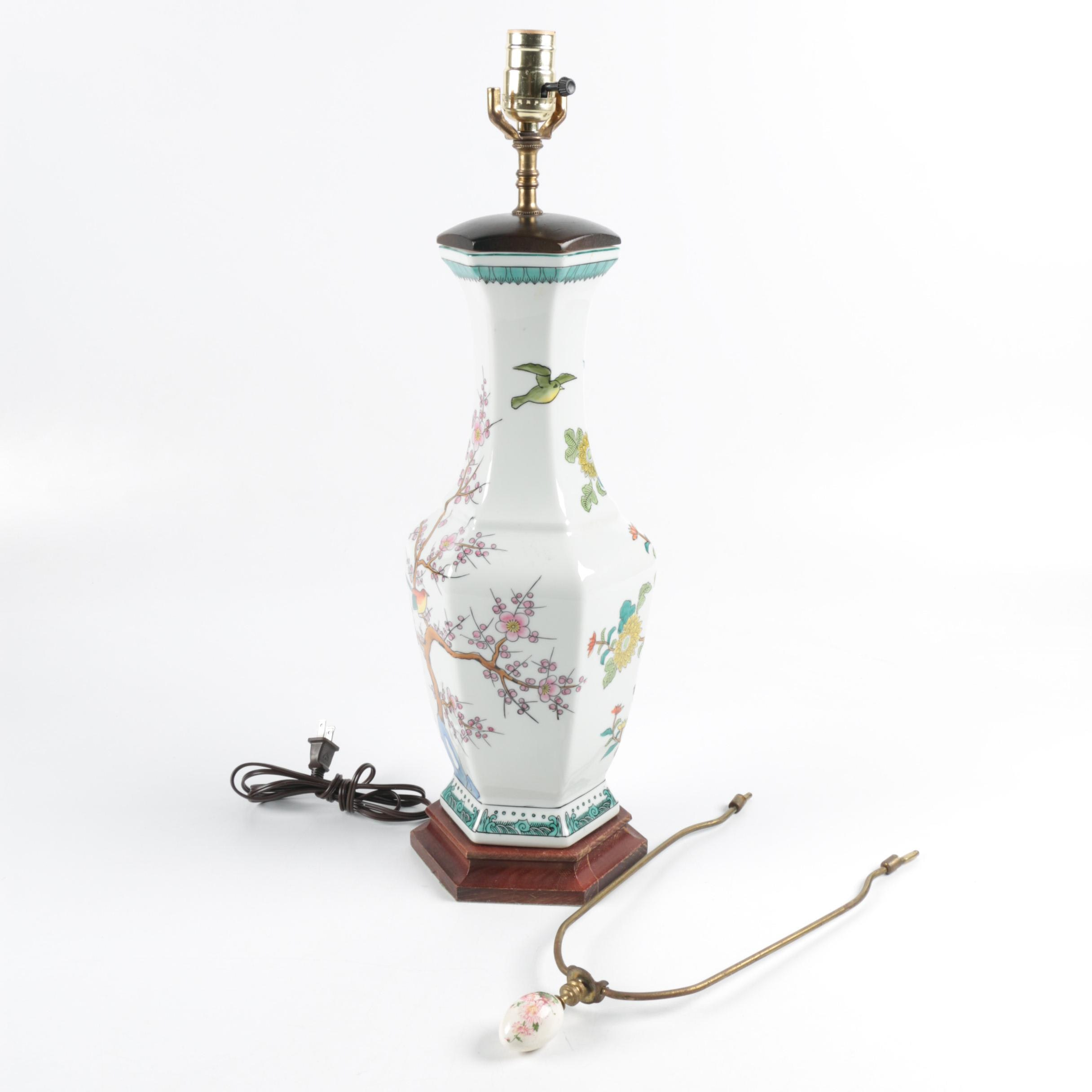 Asian Inspired Urn Shaped Ceramic Table Lamp