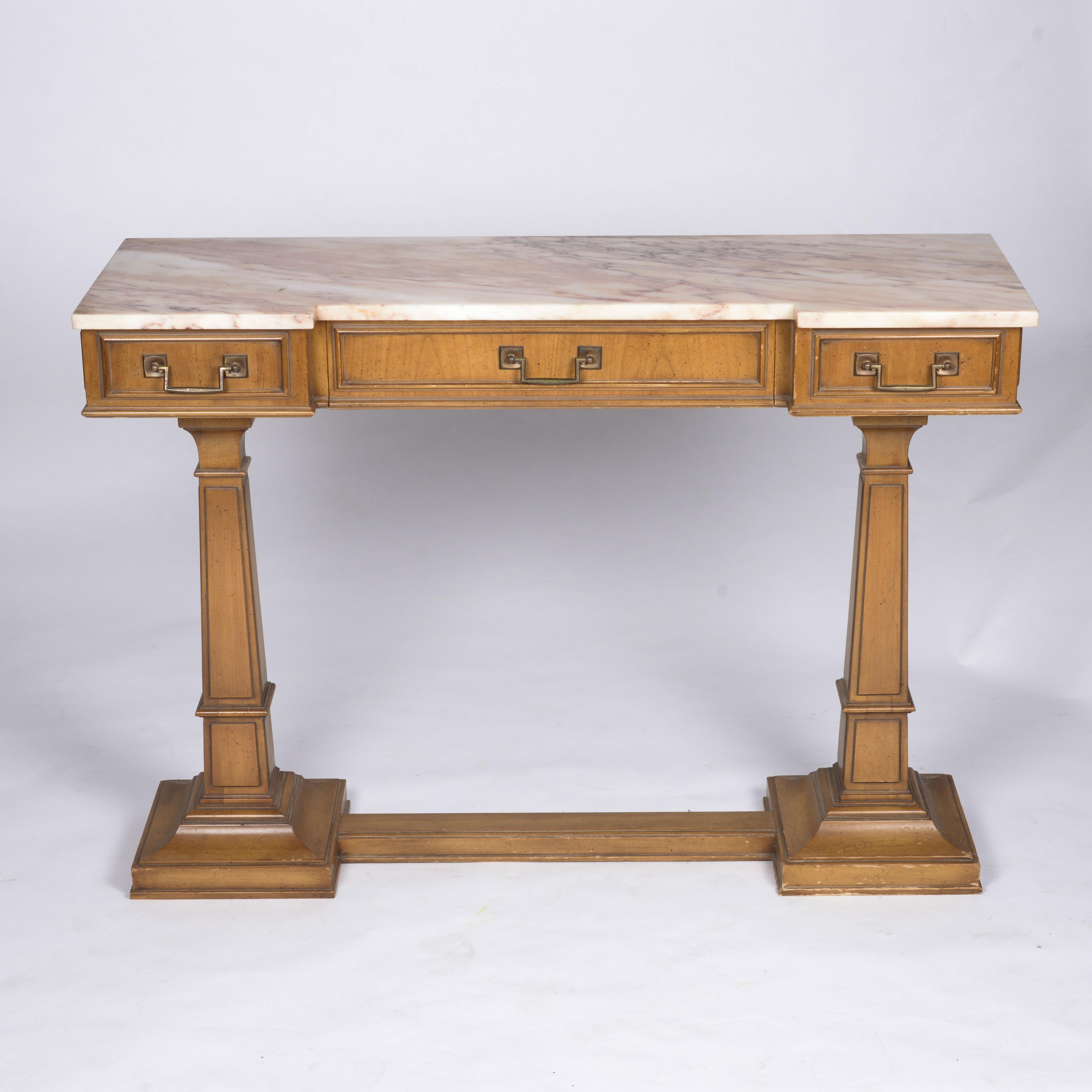 Vintage Marble Top Entry Table by Weiman