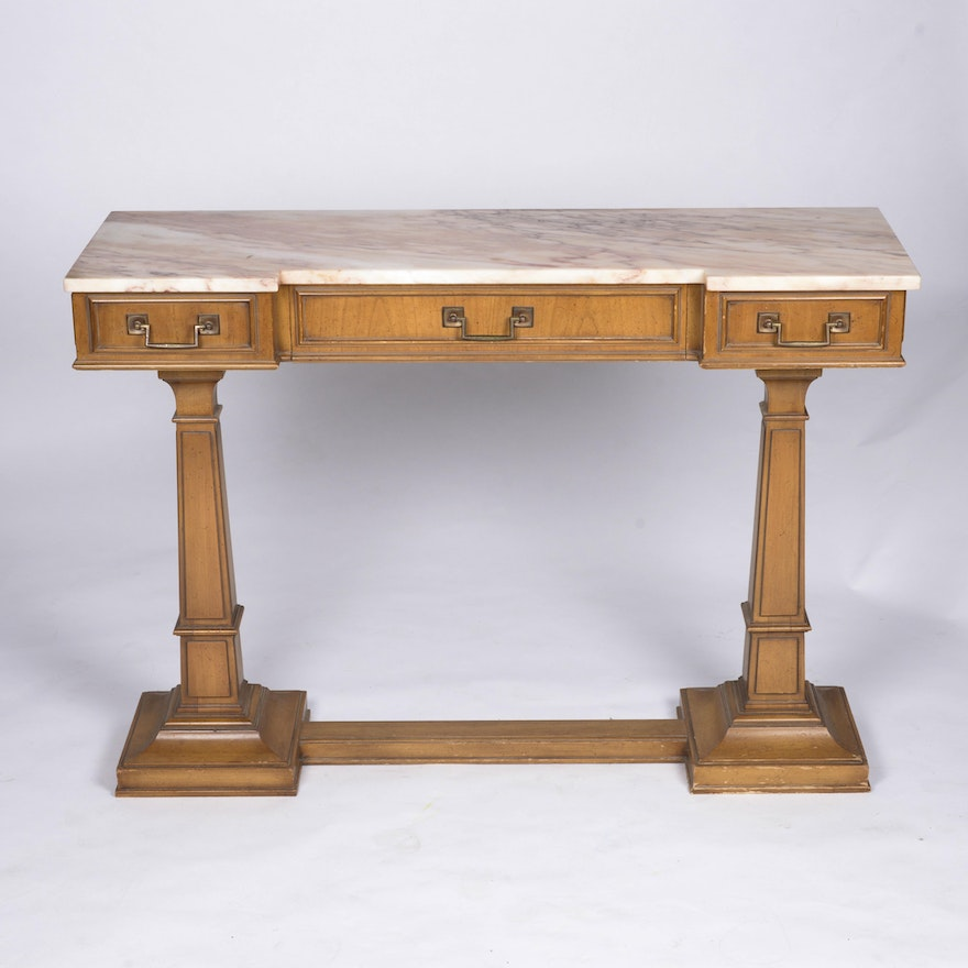 Vintage Marble Top Entry Table By Weiman Ebth