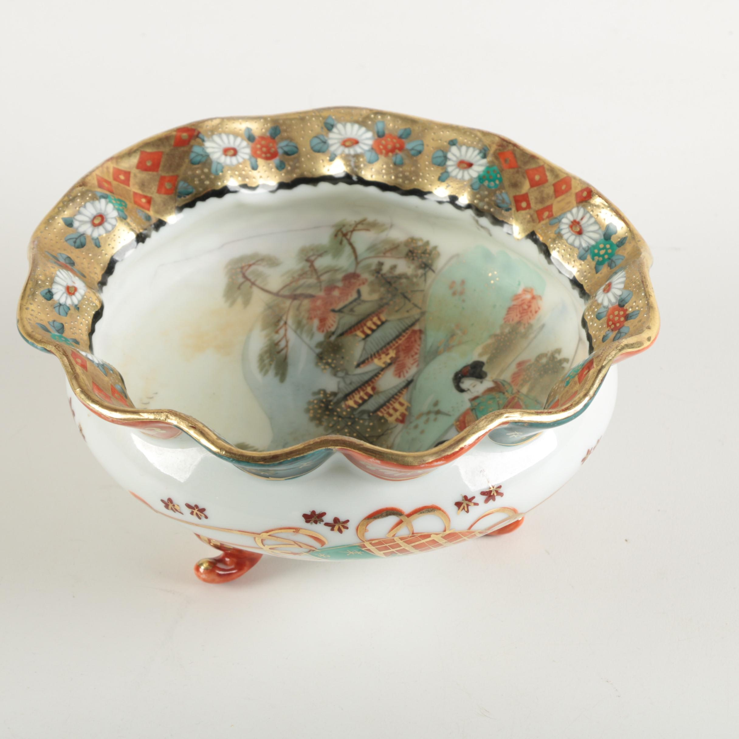 Asian-Inspired Porcelain Bowl with a Ruffled Rim